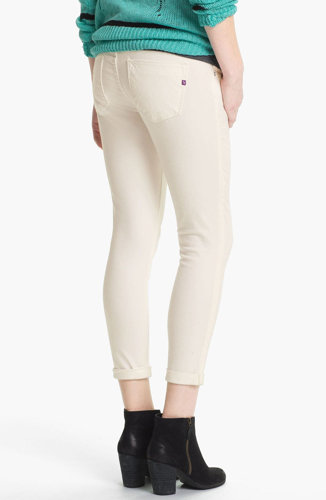 Main Image - Vigoss Skinny Crop Jeans (White) (Juniors)