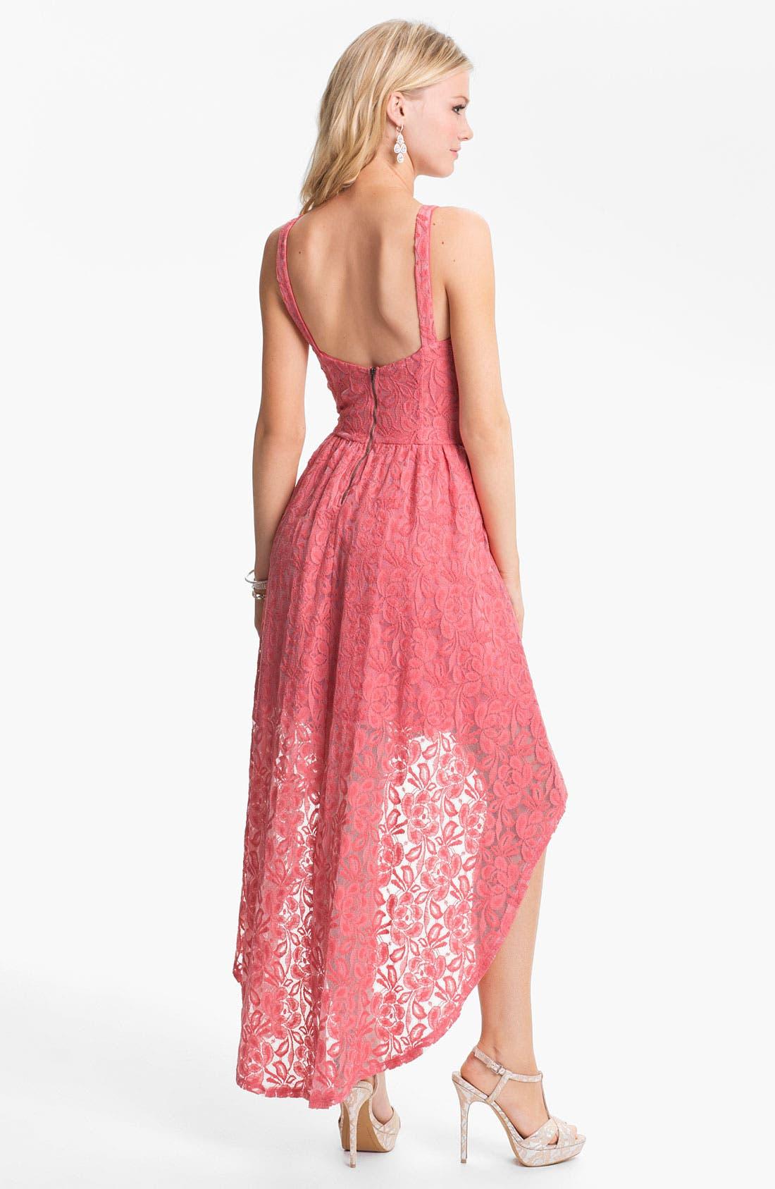 Alternate Image 2  - Fire High/Low Lace Bustier Dress (Juniors)