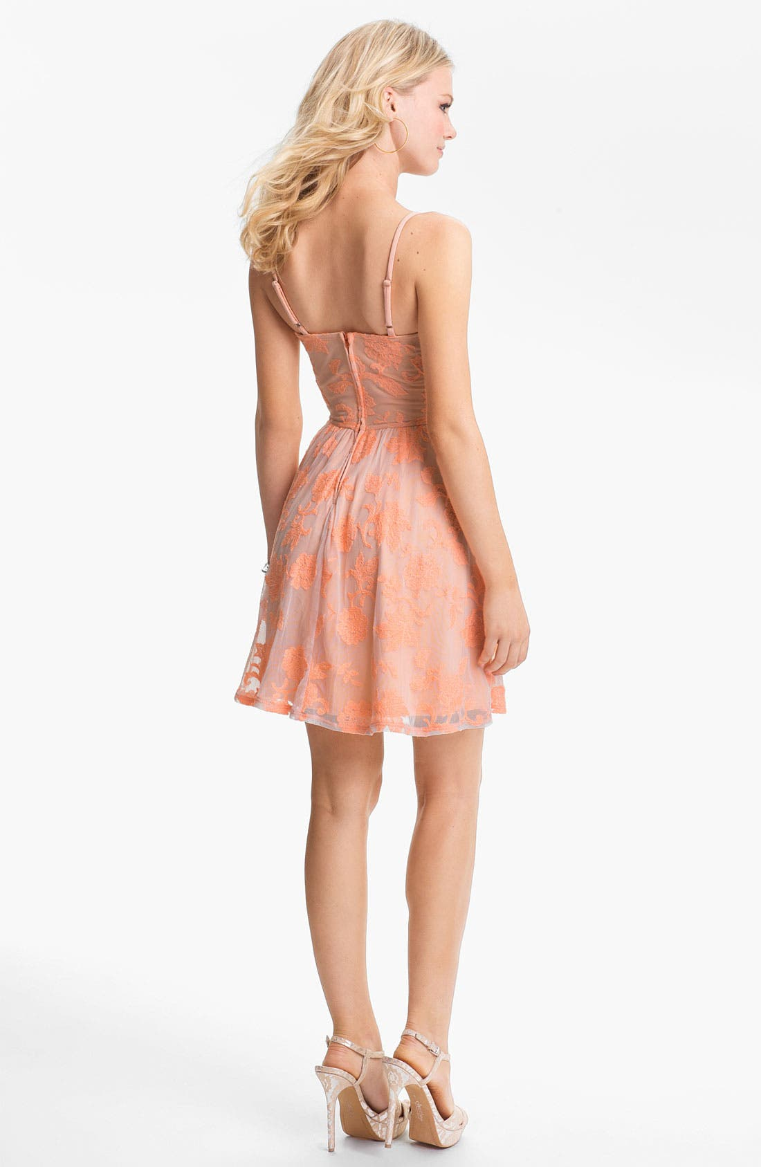 Alternate Image 2  - Fire Lace Skater Dress (Juniors) (Online Only)