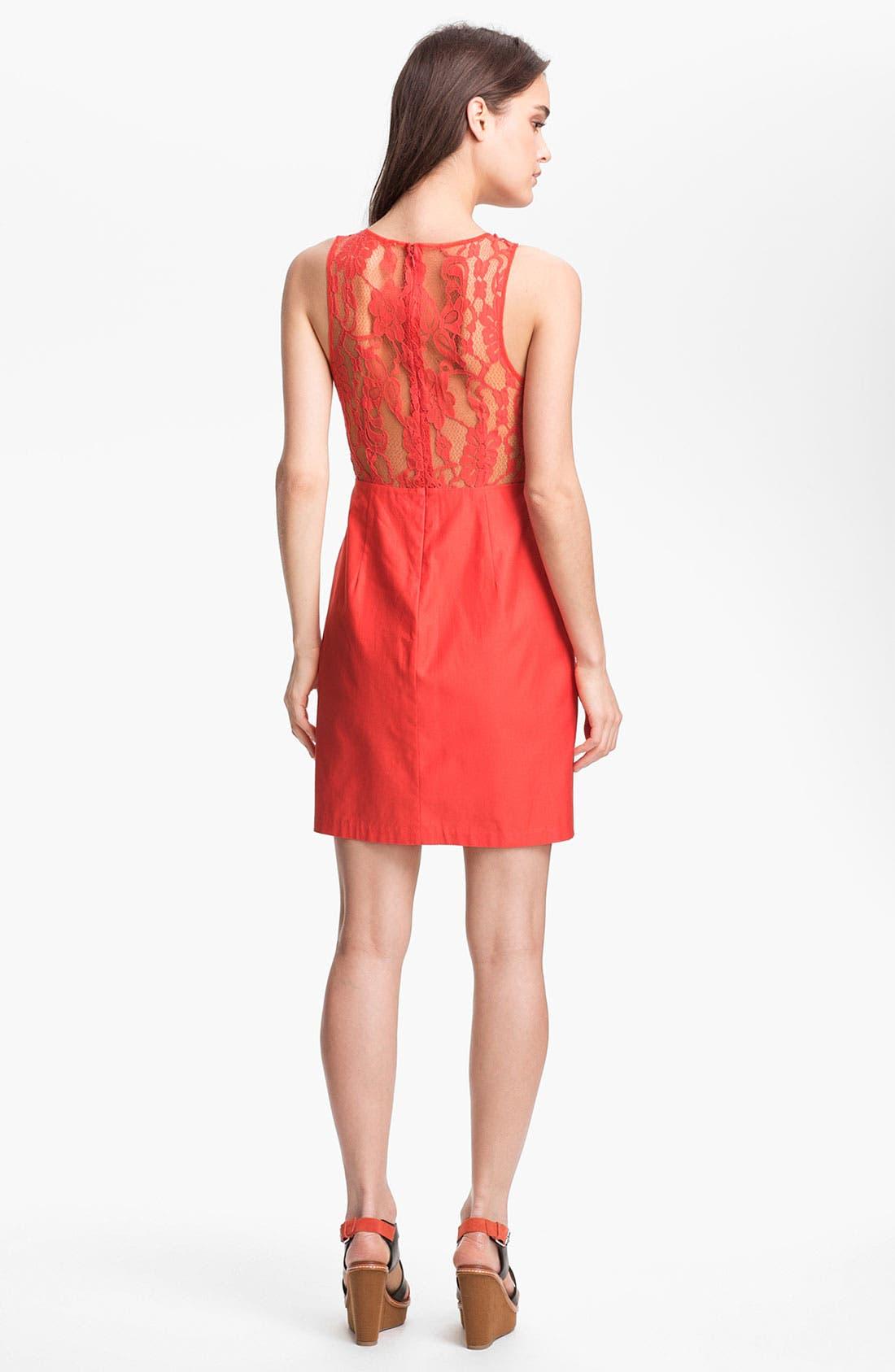 Alternate Image 2  - BB Dakota 'Mandy' Lace Yoke Cotton Sheath Dress