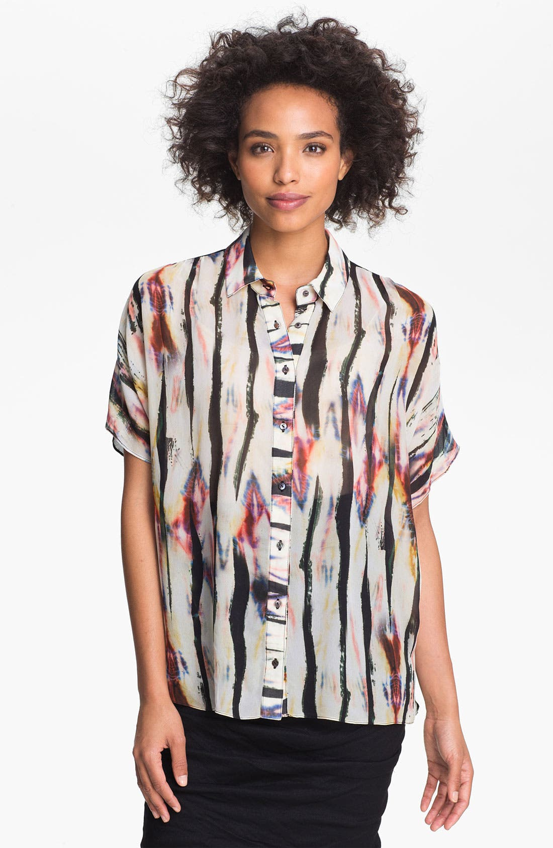 Alternate Image 1 Selected - Nicole Miller Sheer Print Chiffon Blouse