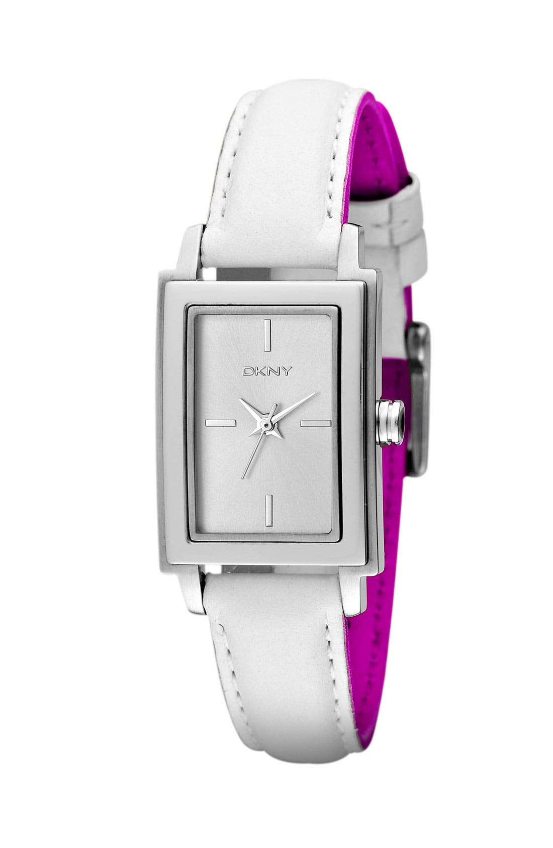 Alternate Image 2  - DKNY Rectangular Leather Strap Watch, 23mm x 28mm