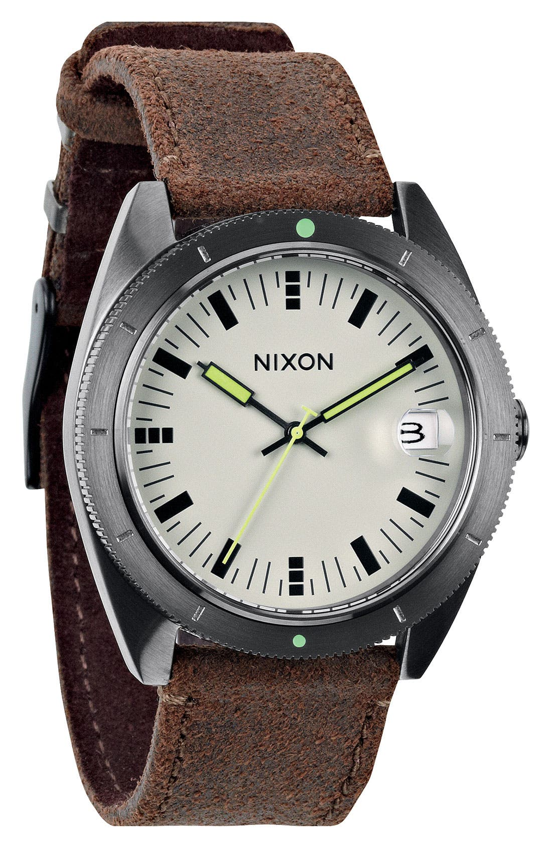 Alternate Image 1 Selected - Nixon 'The Rover' Leather Strap Watch, 42mm