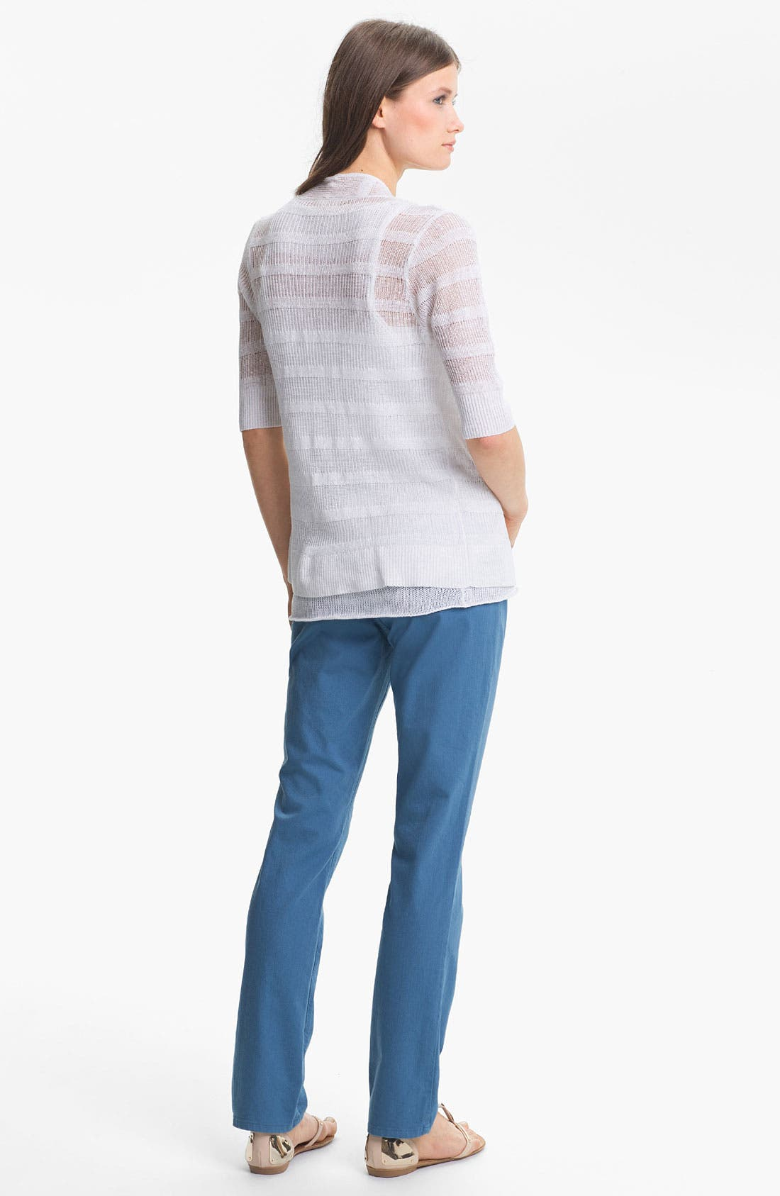 Alternate Image 4  - Eileen Fisher Linen Stripe Open Front Cardigan