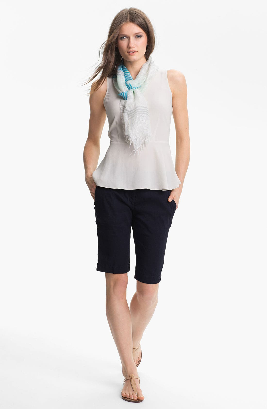 Alternate Image 3  - Eileen Fisher Metallic Stripe Narrow Scarf