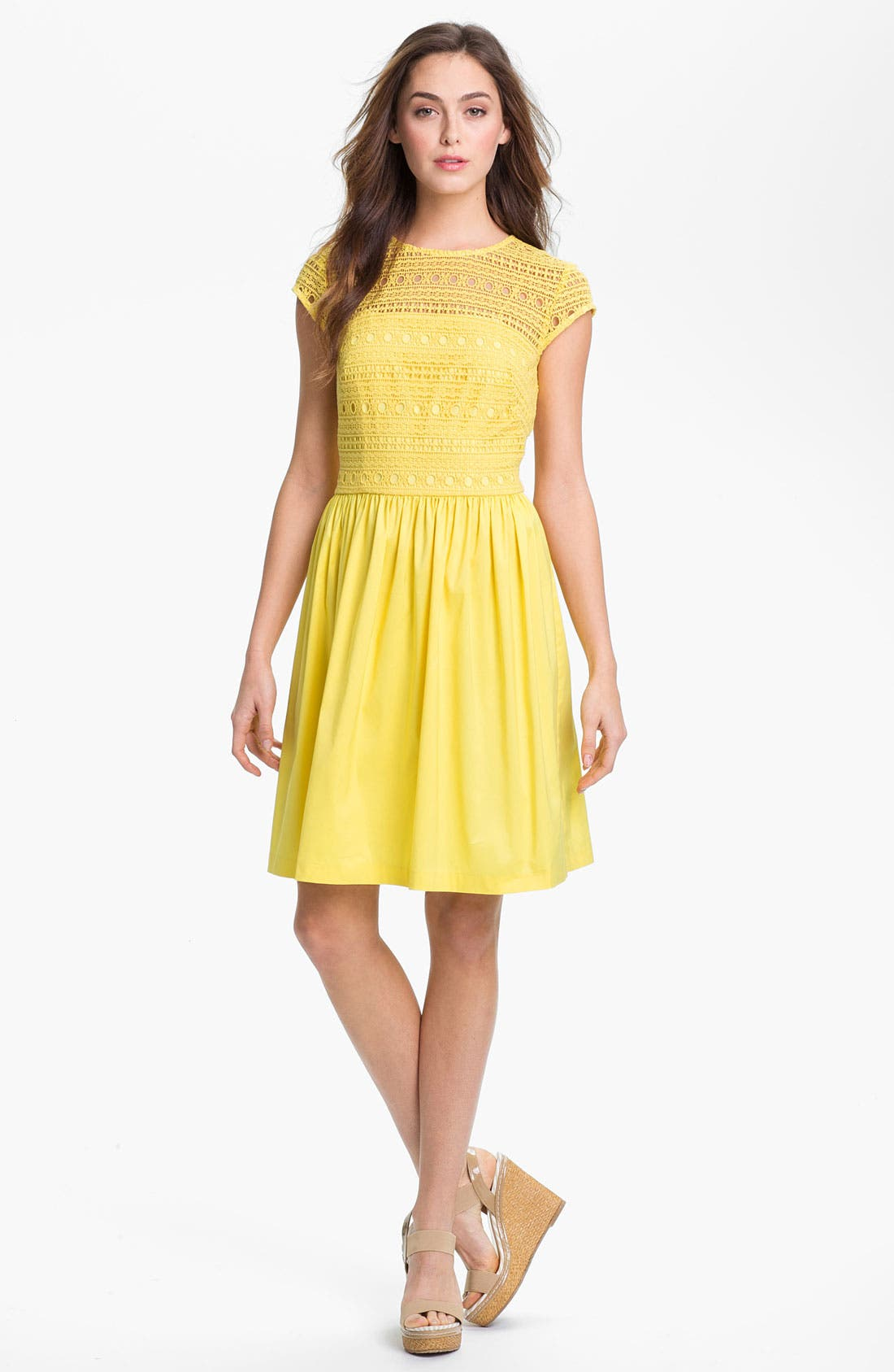 Main Image - Suzi Chin for Maggy Boutique Crochet Fit & Flare Dress