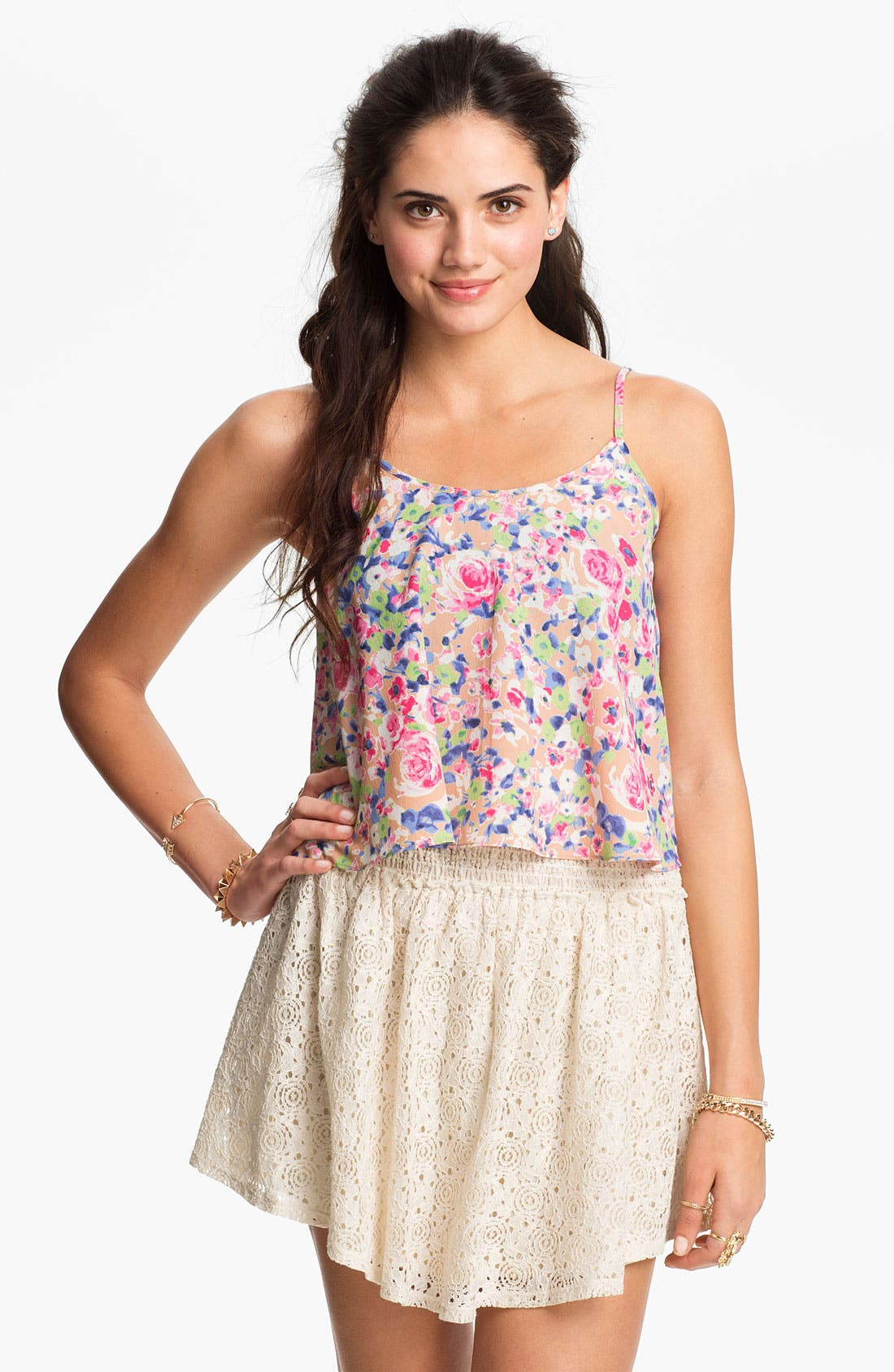 Alternate Image 1 Selected - Soprano Crop Floral Camisole (Juniors)