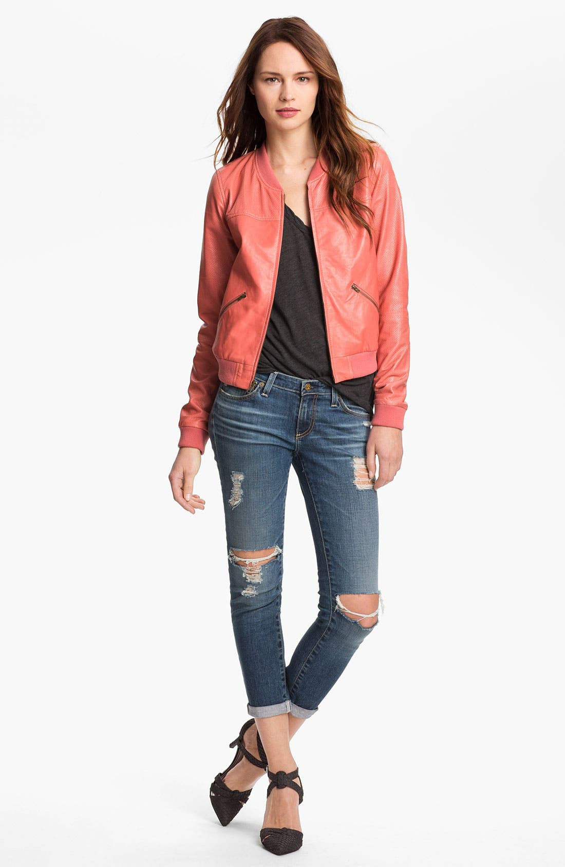 Alternate Image 1 Selected - Trouvé Bomber, James Perse Tee & AG Jeans