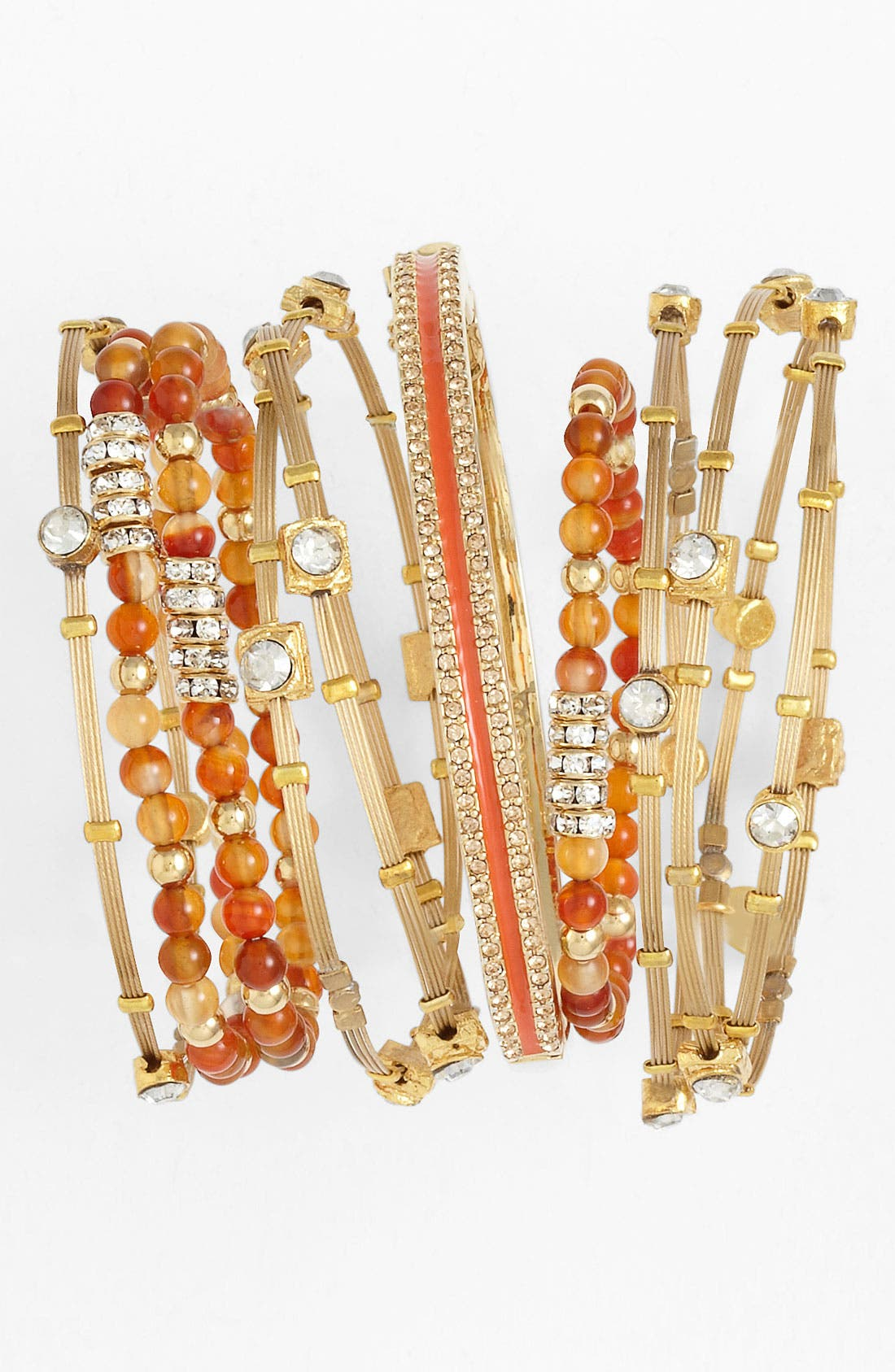 Alternate Image 4  - Seasonal Whispers Crystal & Metal Bangles (Set of 6)