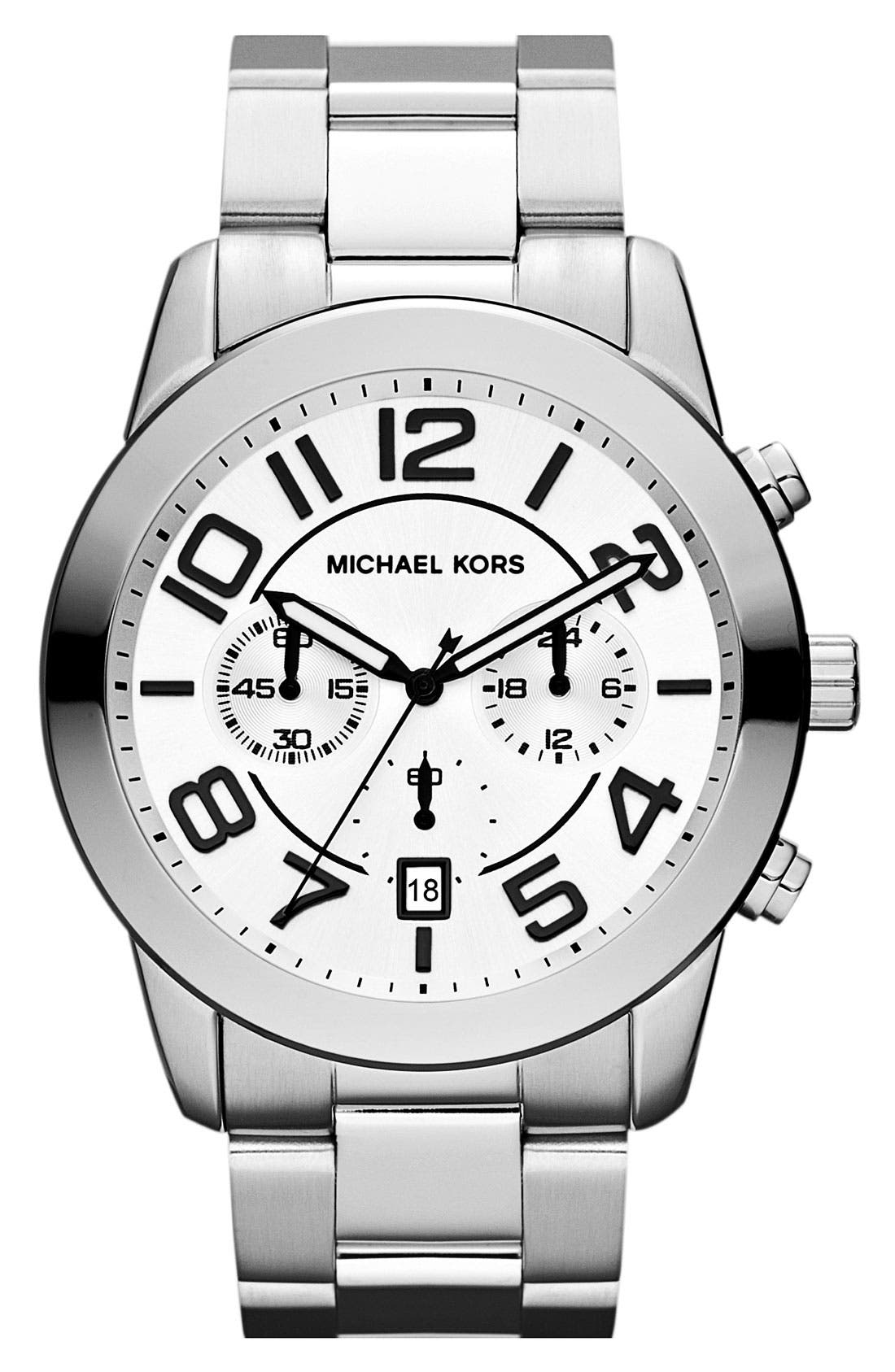Alternate Image 1 Selected - Michael Kors 'Mercer' Large Chronograph Bracelet Watch, 45mm