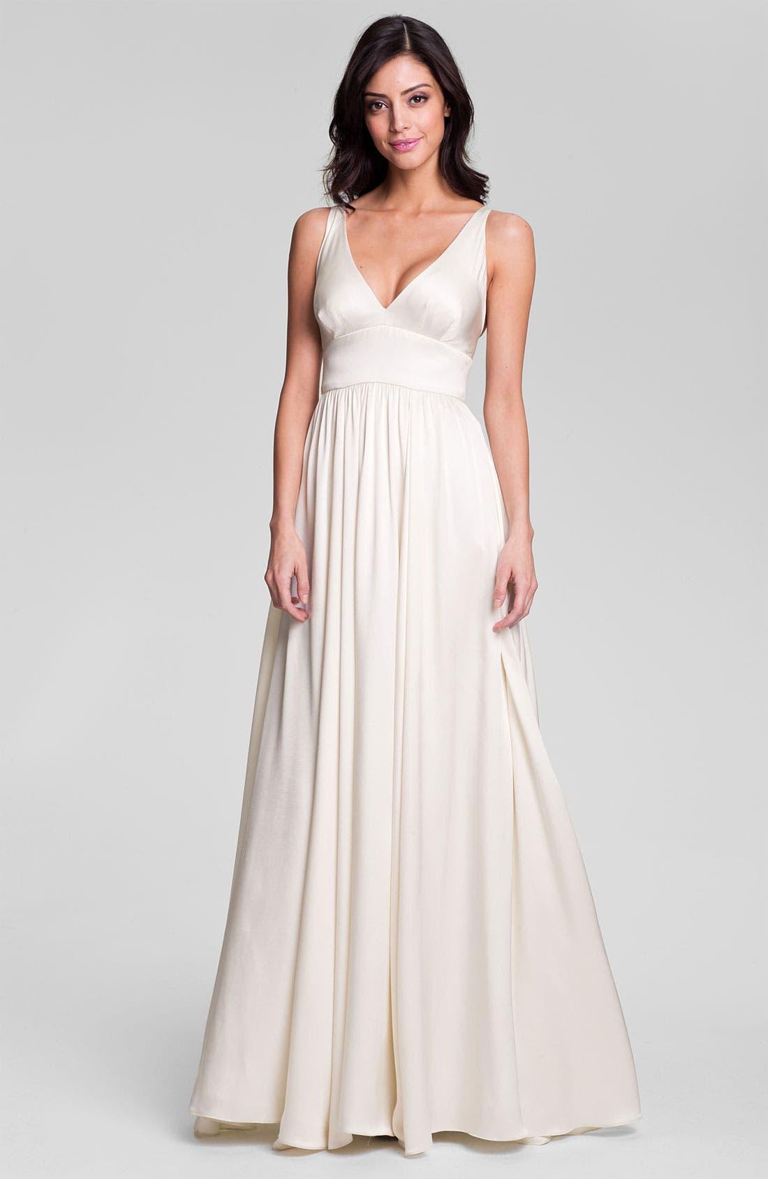 Alternate Image 1 Selected - Nicole Miller 'Elizabeth' Crisscrossed Back Silk A-Line Gown