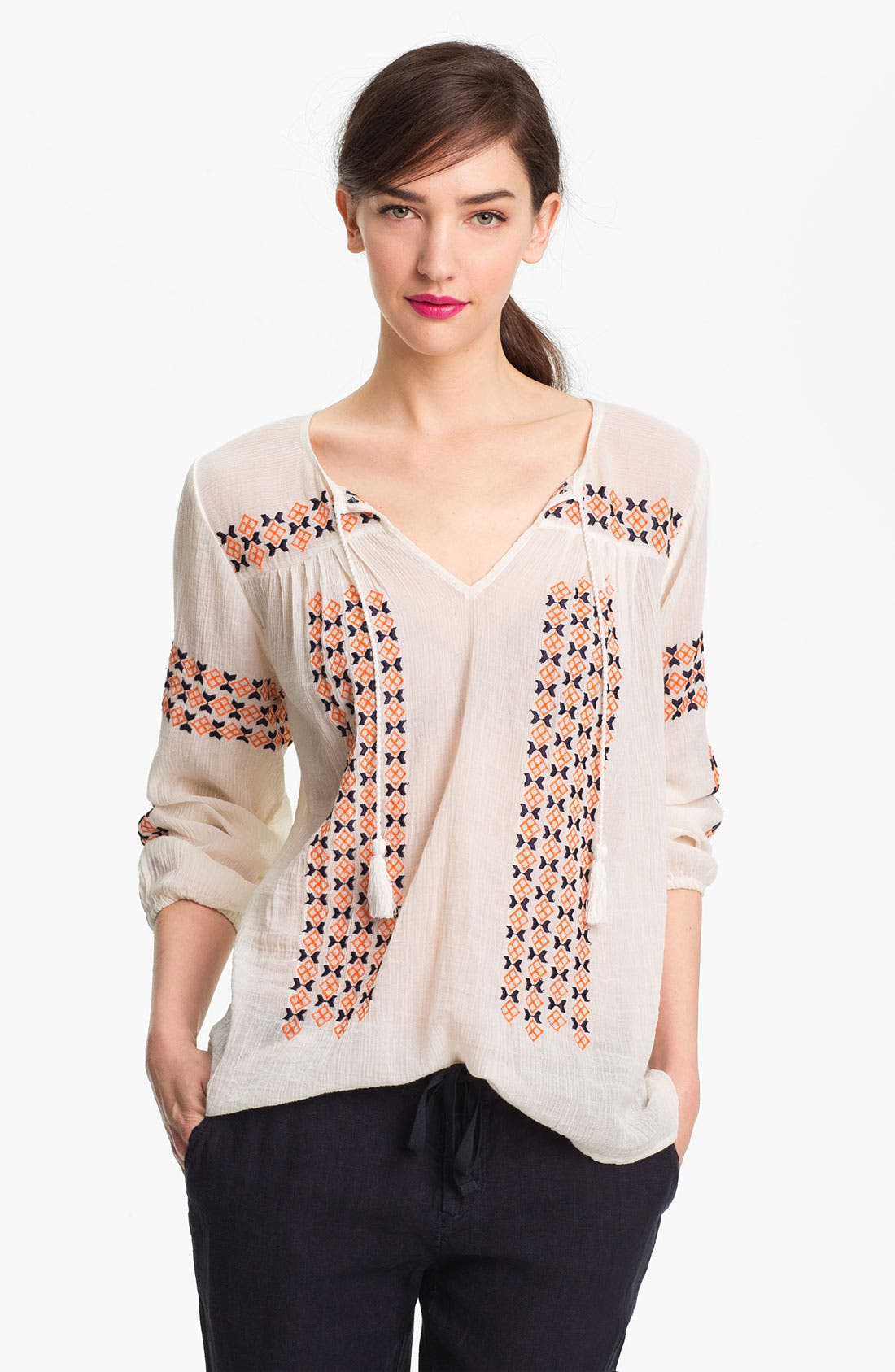 Alternate Image 1 Selected - Joie 'Nira' Embroidered Peasant Top