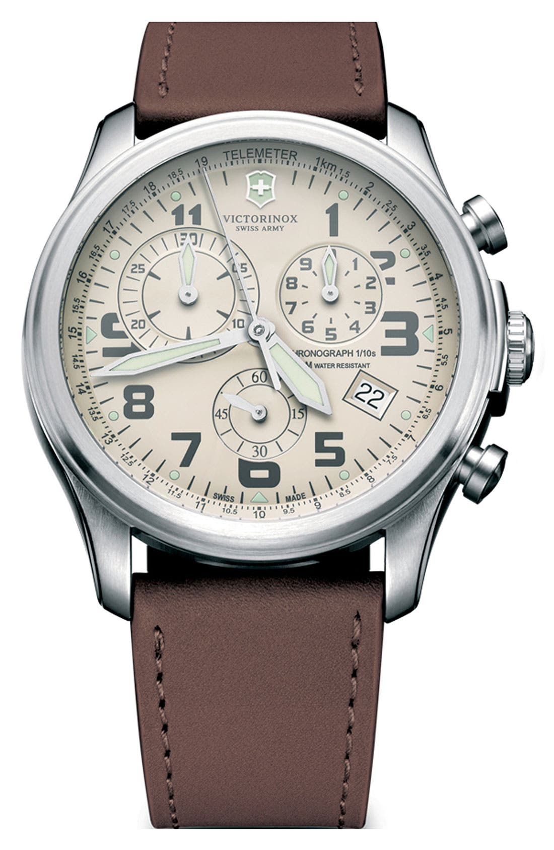 Alternate Image 1 Selected - Victorinox Swiss Army® 'Infantry - Vintage' Chronograph Leather Strap Watch, 44mm