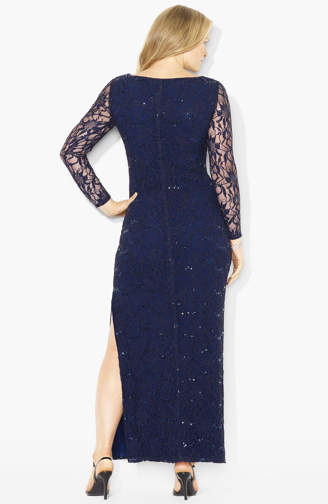 Alternate Image 2  - Lauren Ralph Lauren Sequin Lace Gown (Plus)