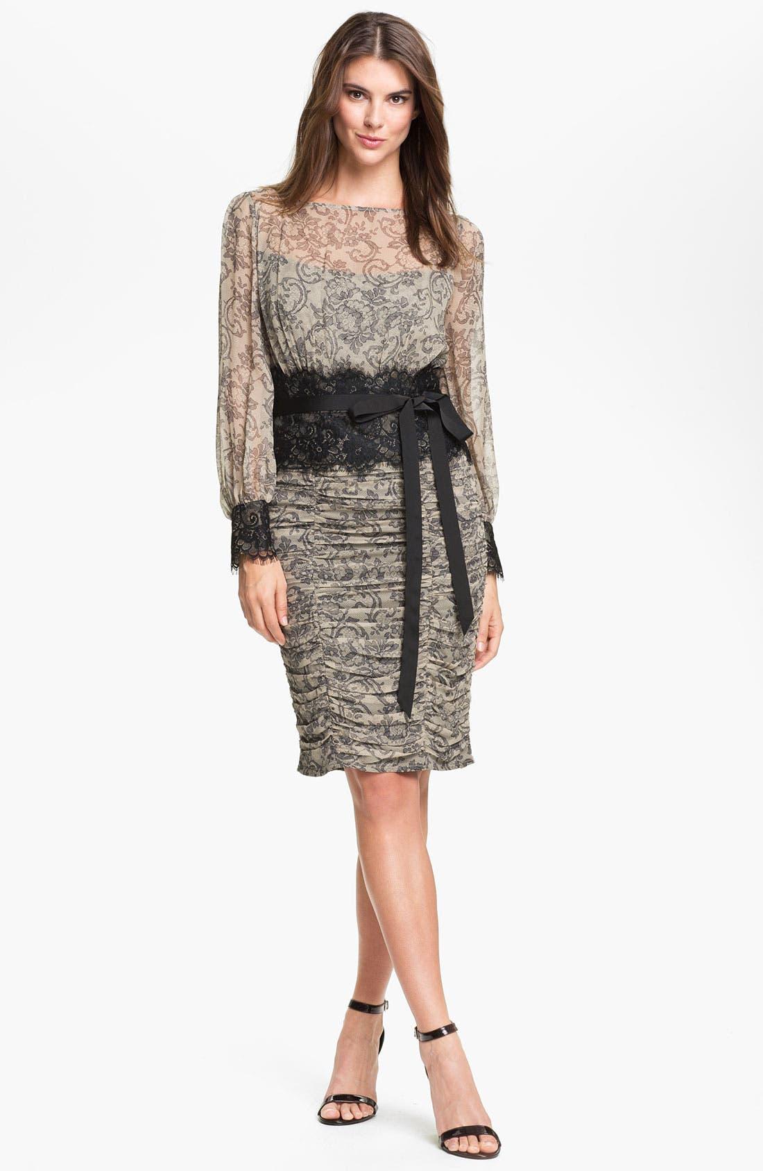 Alternate Image 1 Selected - Tadashi Shoji Print Silk & Lace Dress (Online Only)