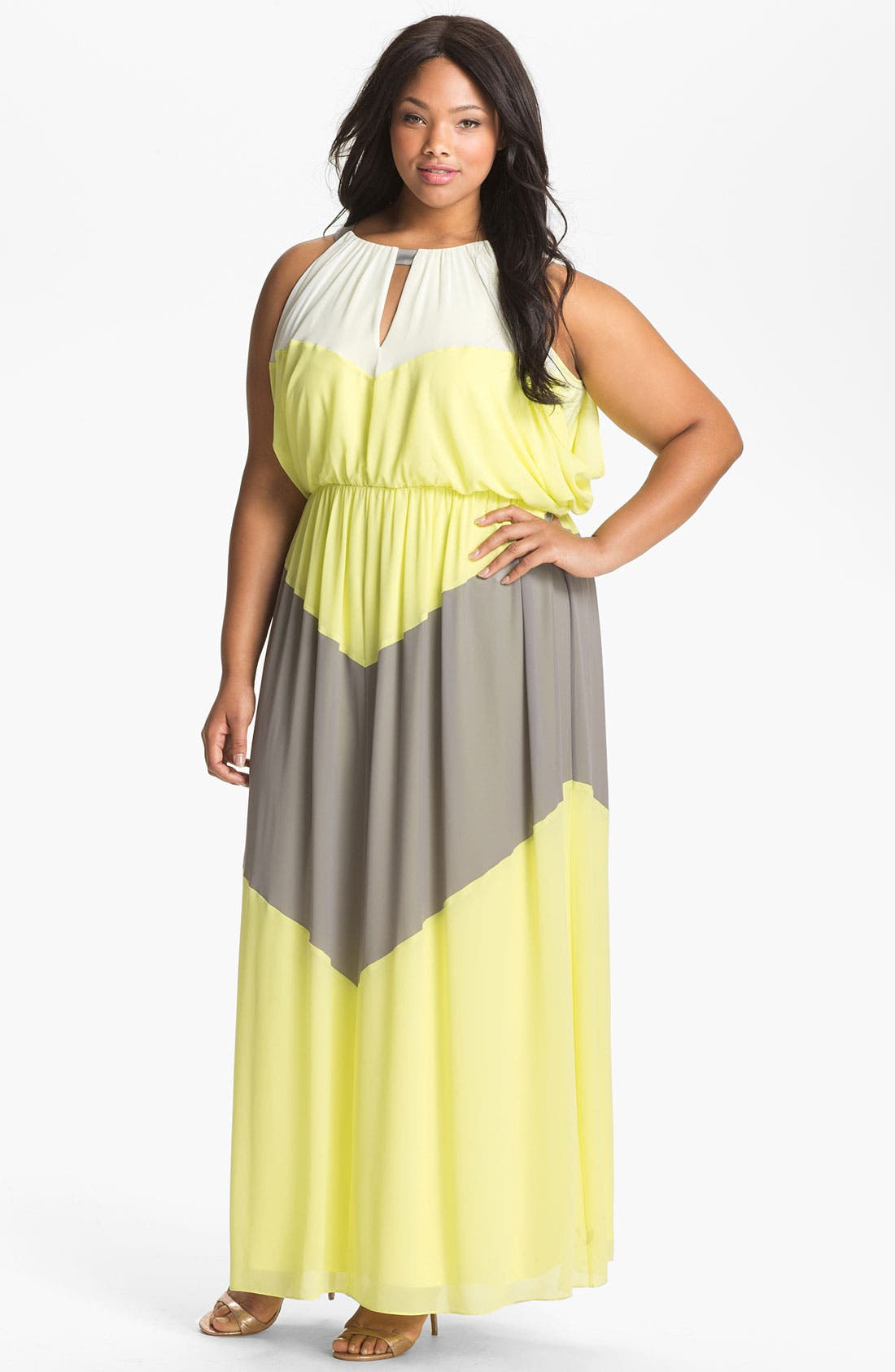 Alternate Image 1 Selected - Vince Camuto Colorblock Maxi Dress (Plus Size)