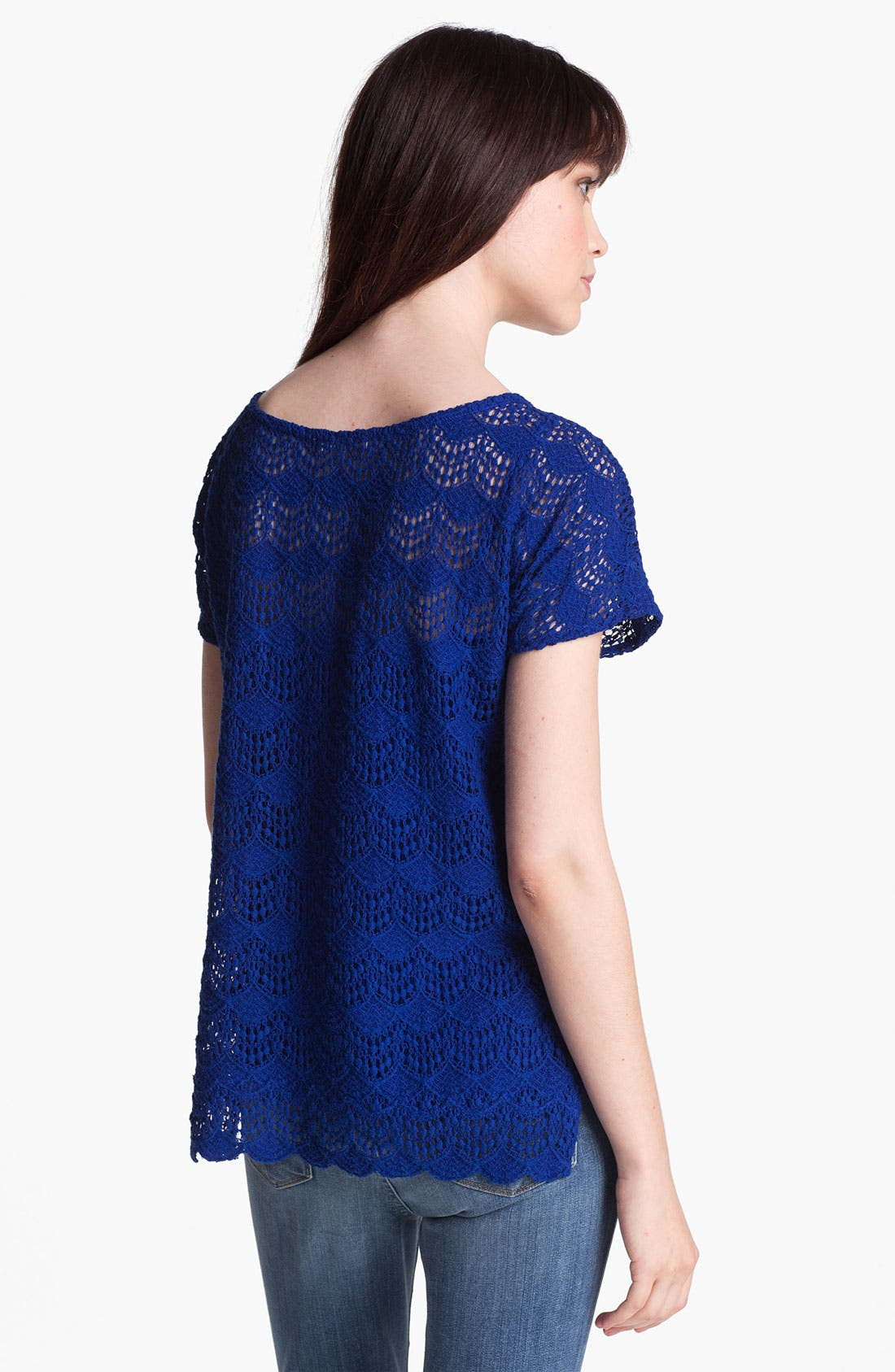 Alternate Image 2  - Ella Moss Scalloped Lace Top