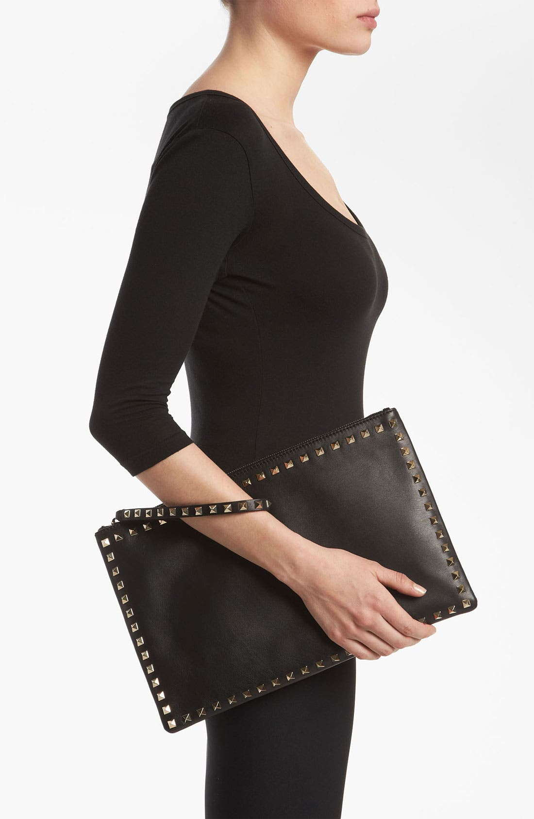Alternate Image 2  - Valentino 'Rockstud - Flat' Leather Clutch