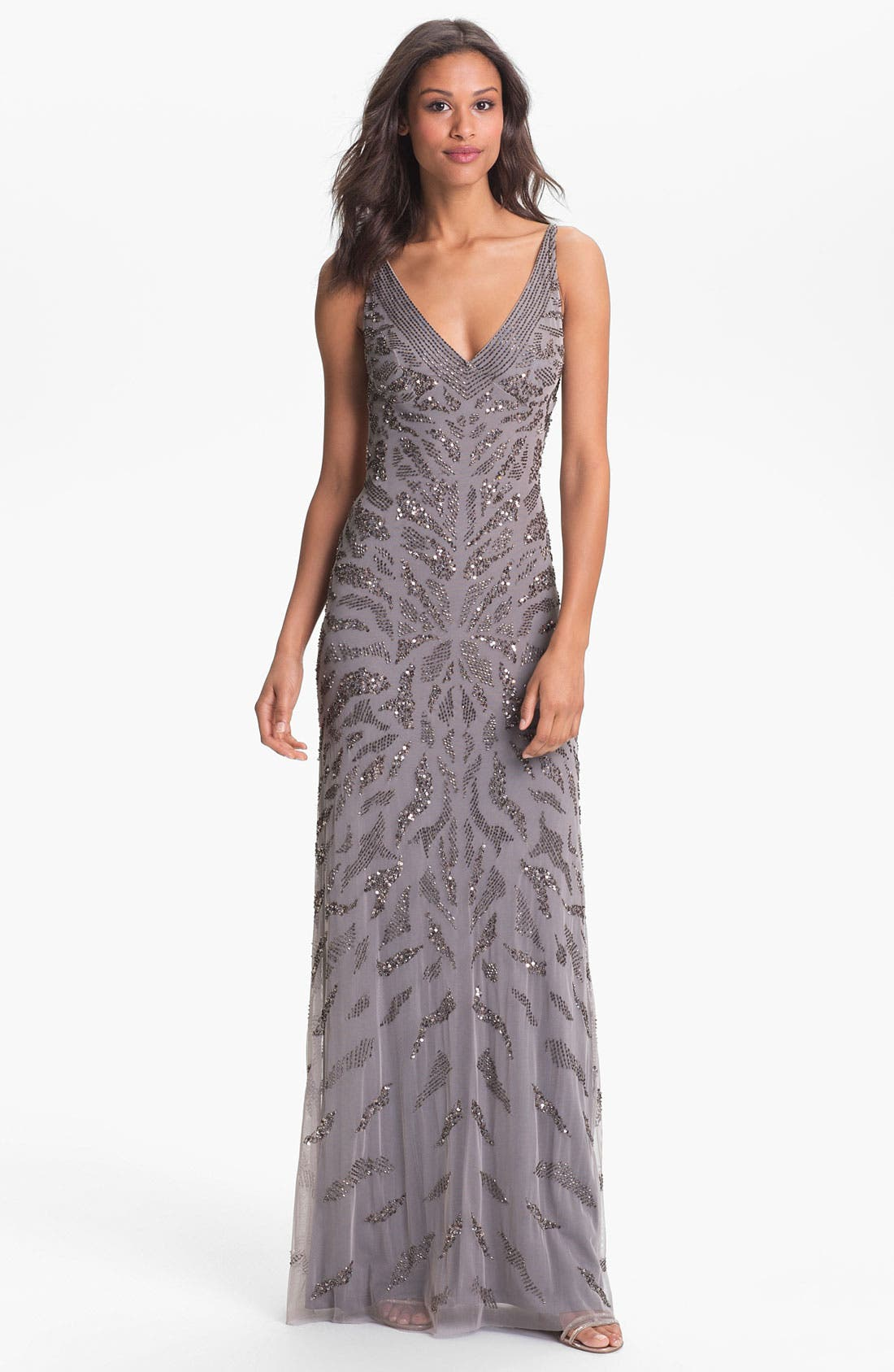 Alternate Image 1 Selected - Adrianna Papell Embellished V-Neck Mesh Gown