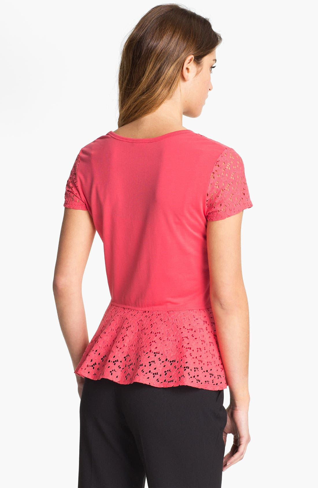 Alternate Image 2  - DKNYC Eyelet Lace Peplum Top