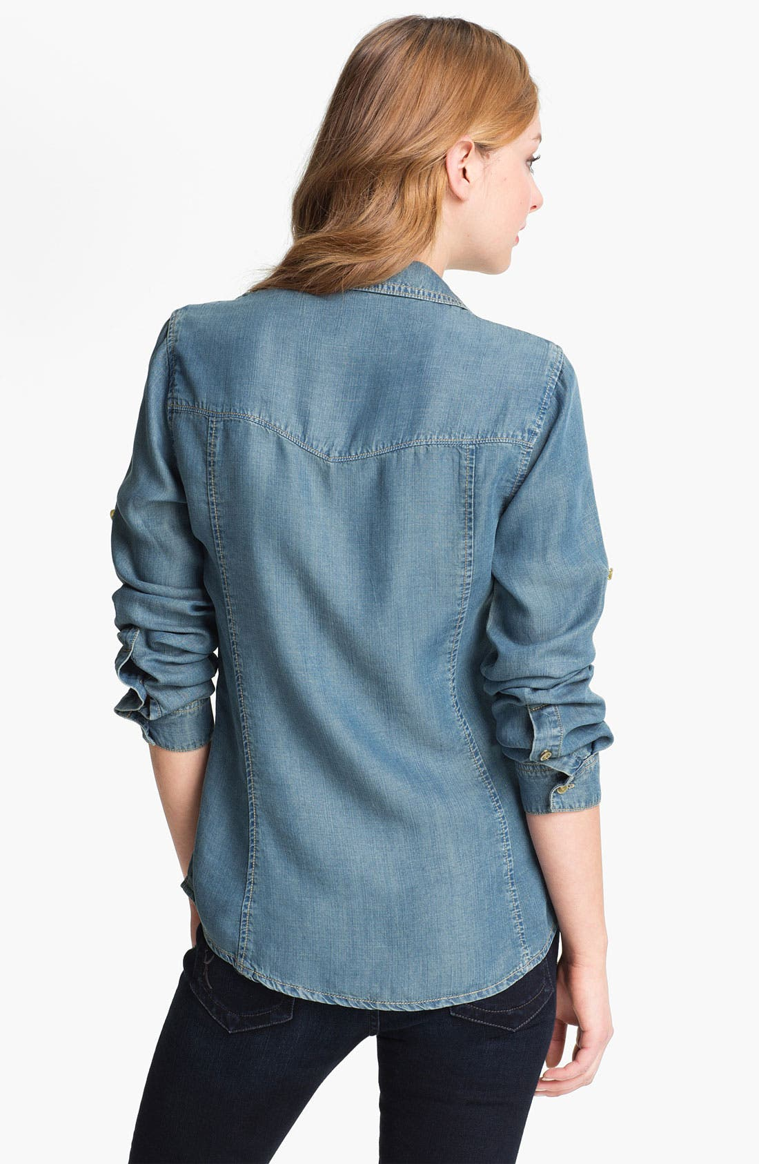 Alternate Image 2  - Side Stitch Roll Sleeve Fitted Shirt