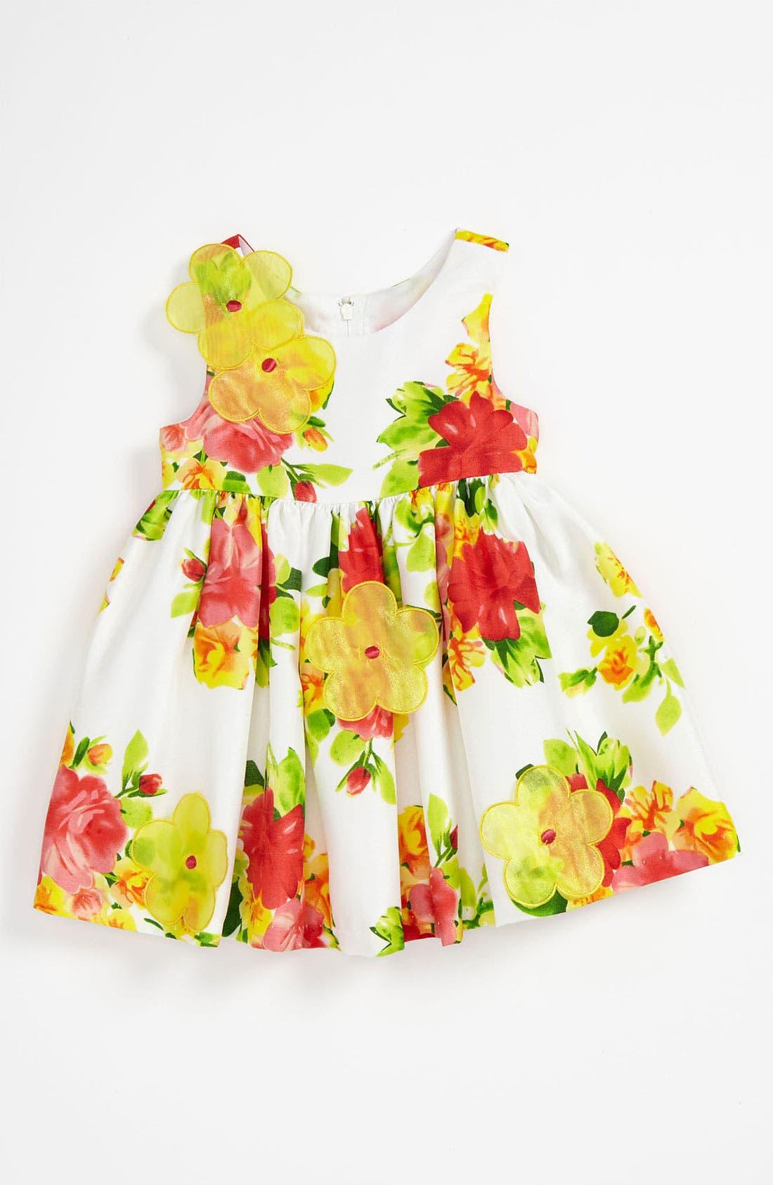 Main Image - Iris & Ivy Floral Shantung Dress (Toddler)