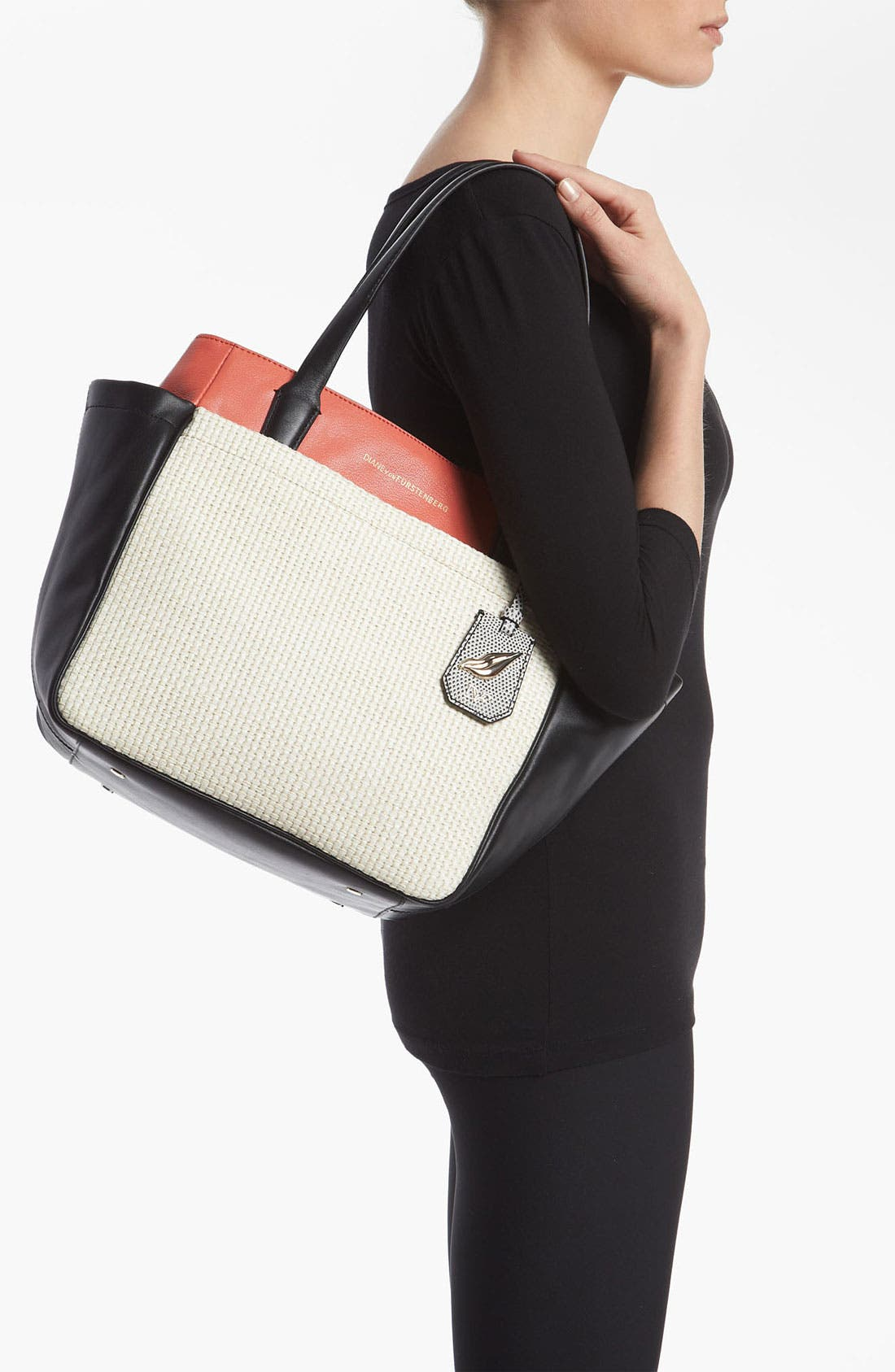 Alternate Image 2  - Diane von Furstenberg 'On the Go' Leather & Straw Tote