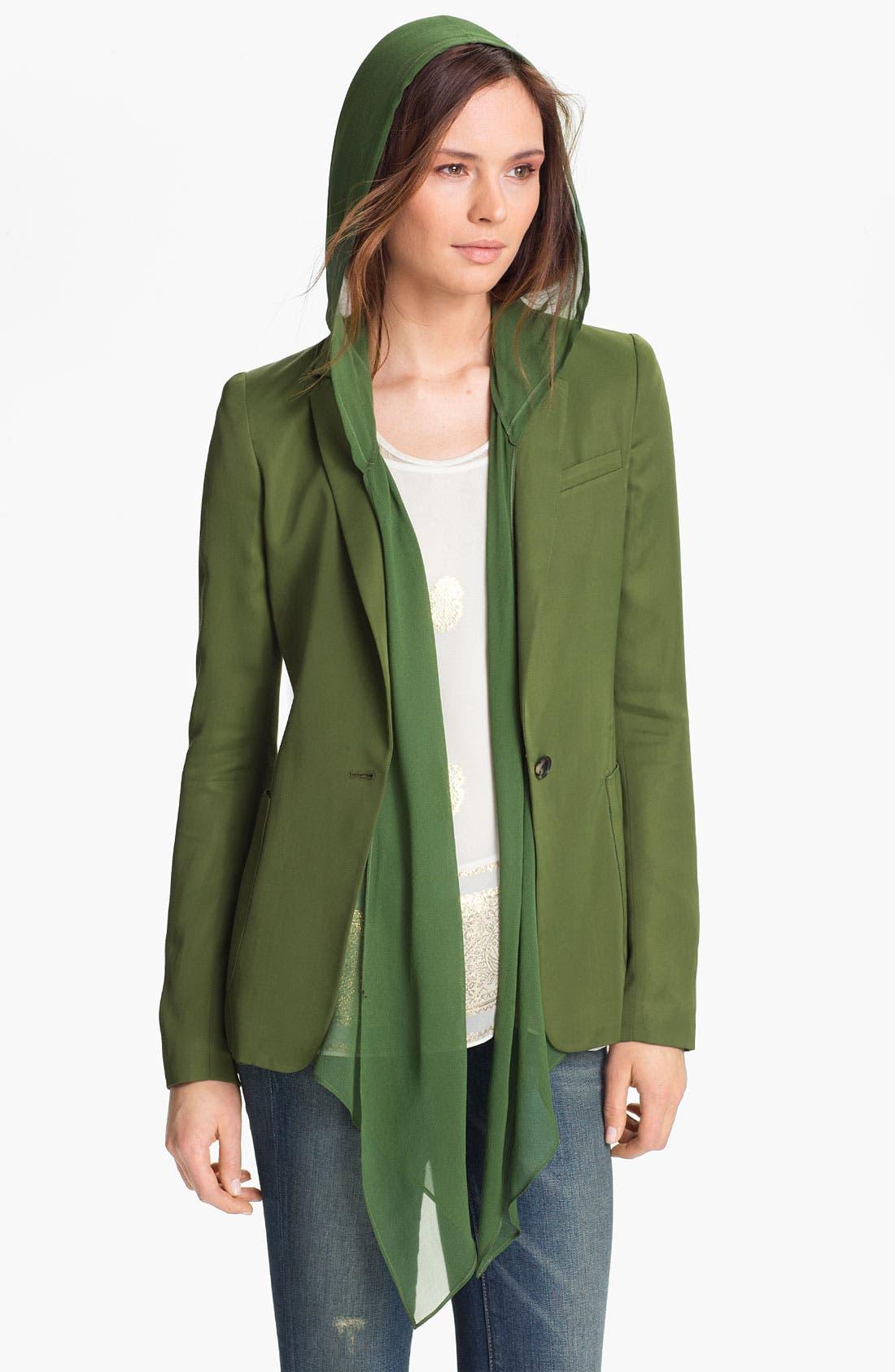 Alternate Image 2  - Elizabeth and James 'Mona' Hooded Crepe Vest & Satin Jacket
