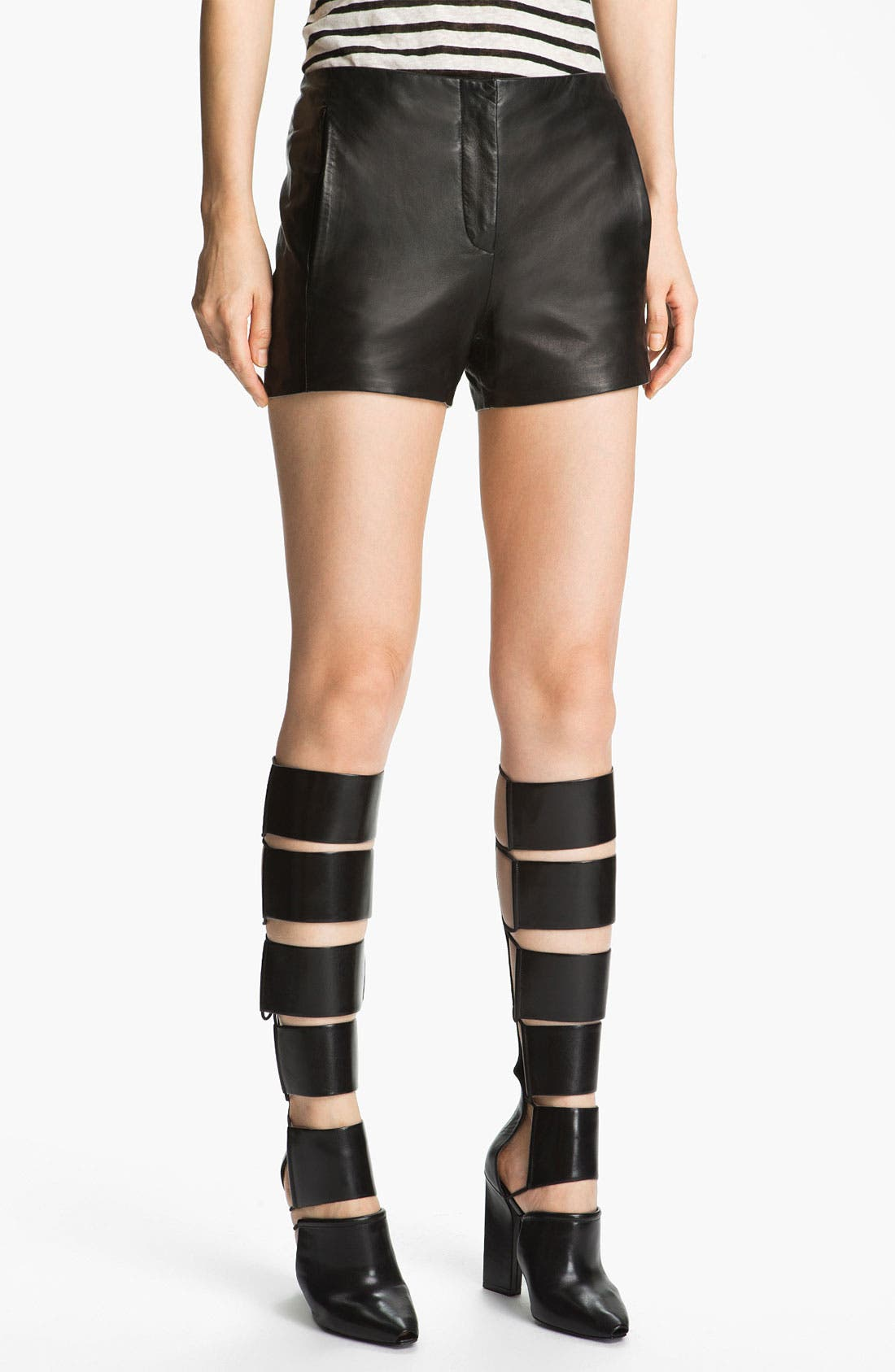 Alternate Image 1 Selected - T by Alexander Wang Shell & Leather Shorts