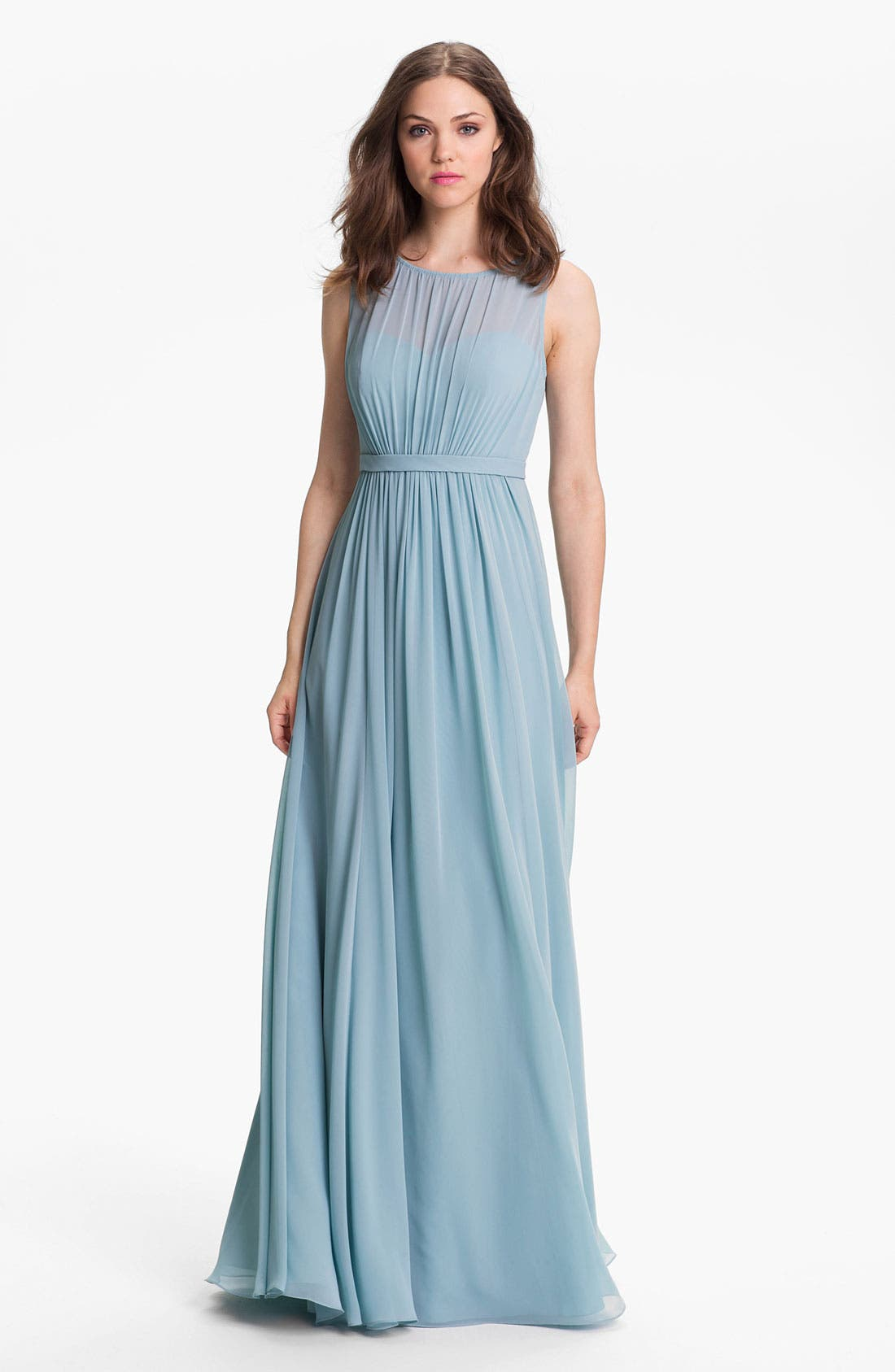 Jenny Yoo 'Vivienne' Pleated Chiffon Gown