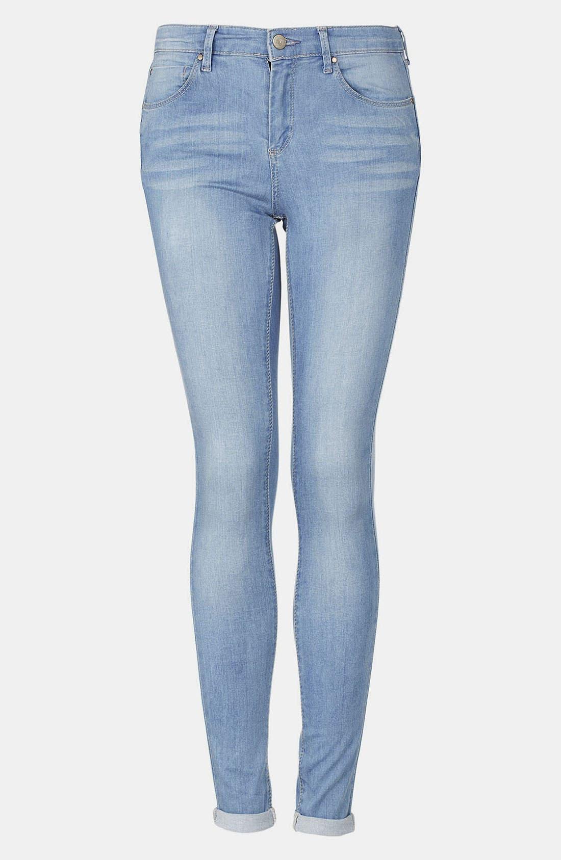 Alternate Image 1 Selected - Topshop Moto 'Leigh' Bleach Wash Skinny Jeans (Regular & Short)