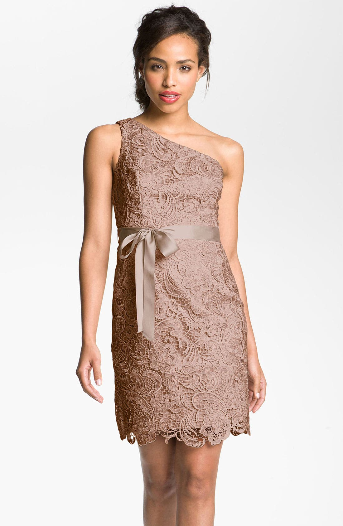 Main Image - Adrianna Papell Lace One Shoulder Sheath Dress