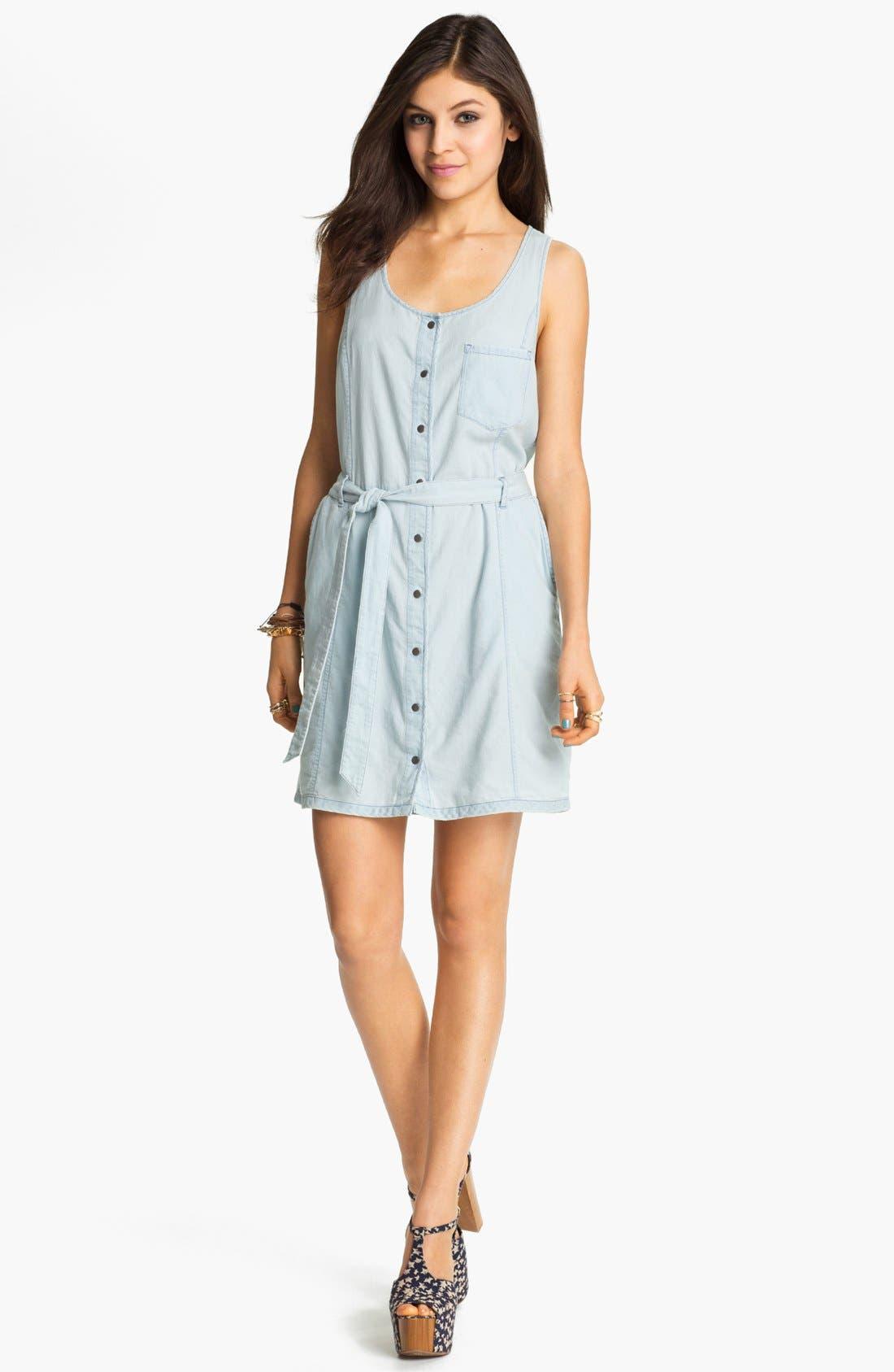 Alternate Image 1  - Rubbish® Chambray Bustier Dress (Juniors)