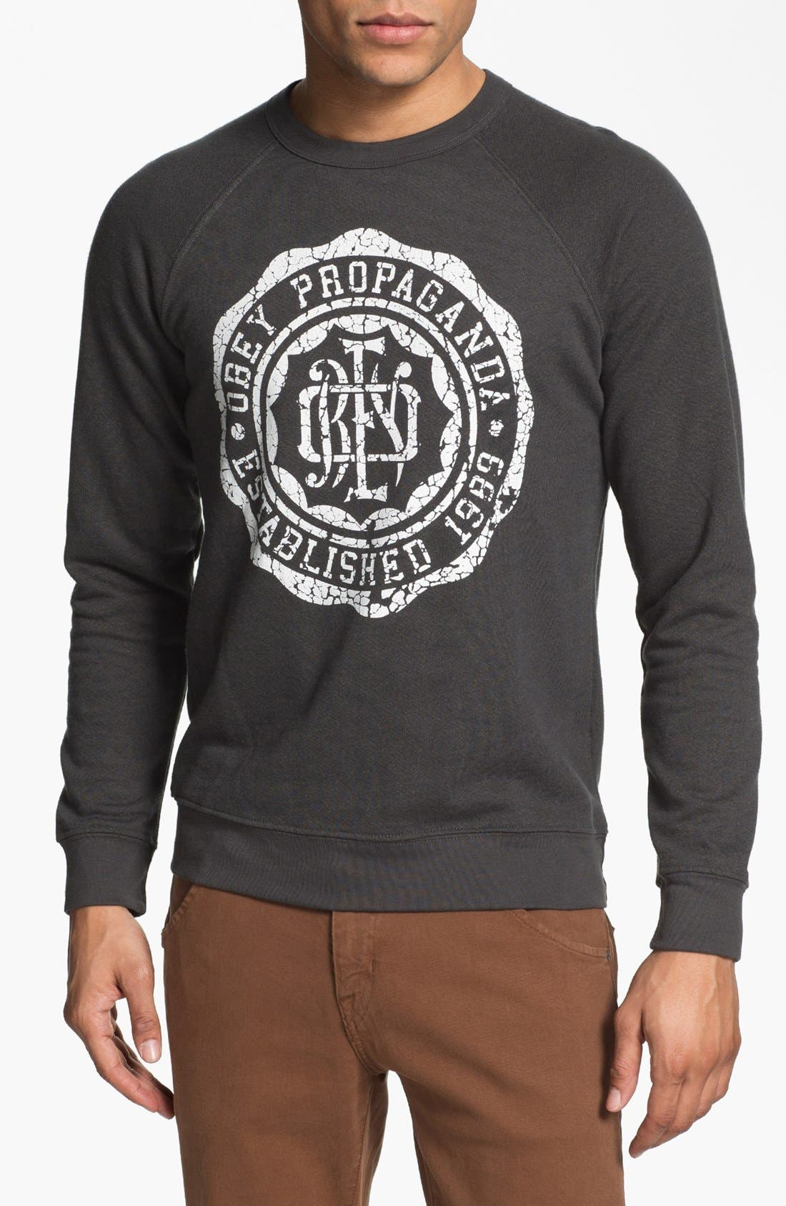 Main Image - Obey 'College Crest' Graphic Crewneck Sweatshirt.