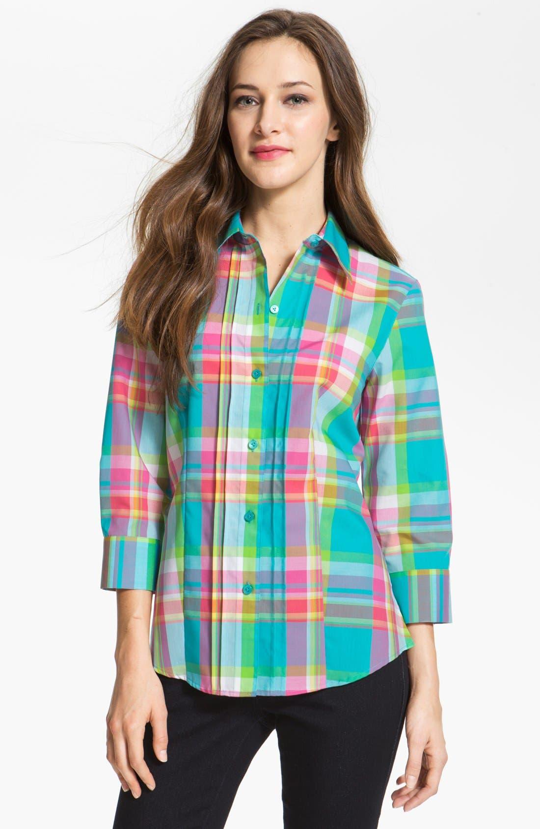 Alternate Image 1 Selected - Foxcroft Three Quarter Sleeve Plaid Shirt (Petite)