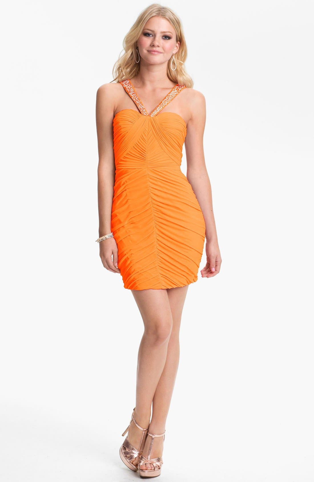 Main Image - Hailey Logan Embellished Strap Ruched Body-Con Dress (Juniors) (Online Only)