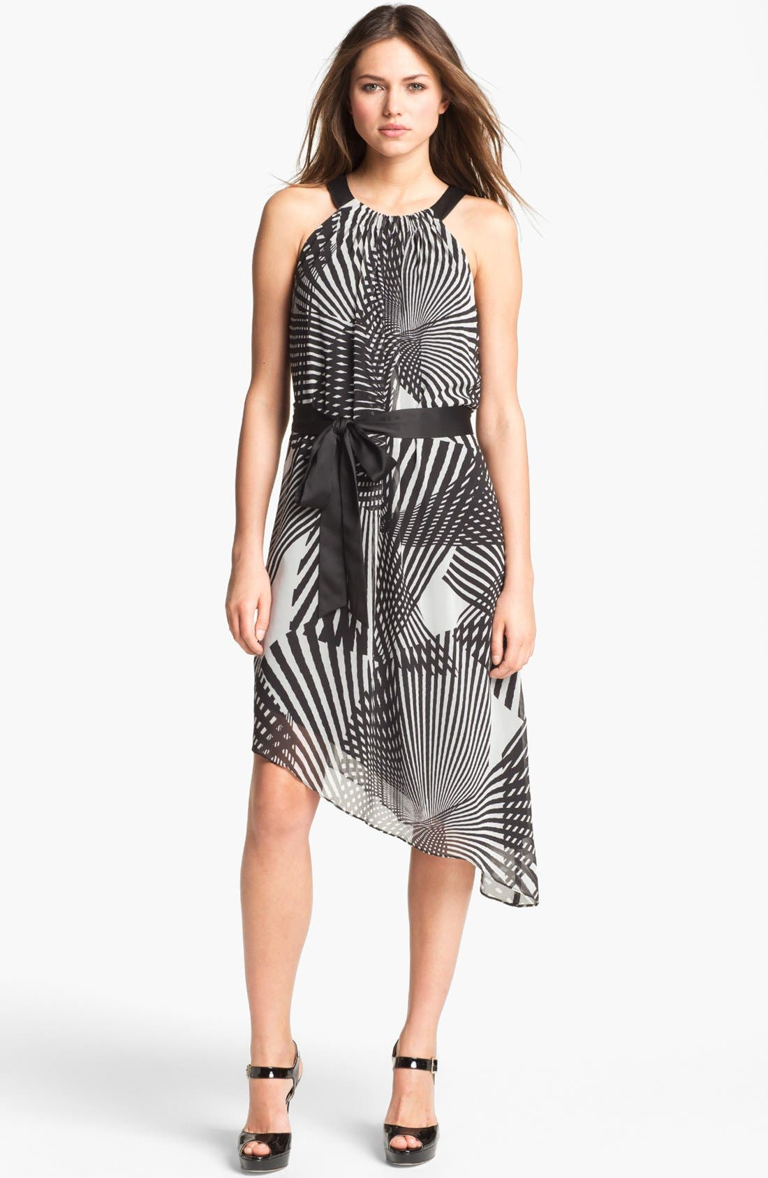 Alternate Image 1 Selected - Adrianna Papell Print Asymmetrical Chiffon Dress