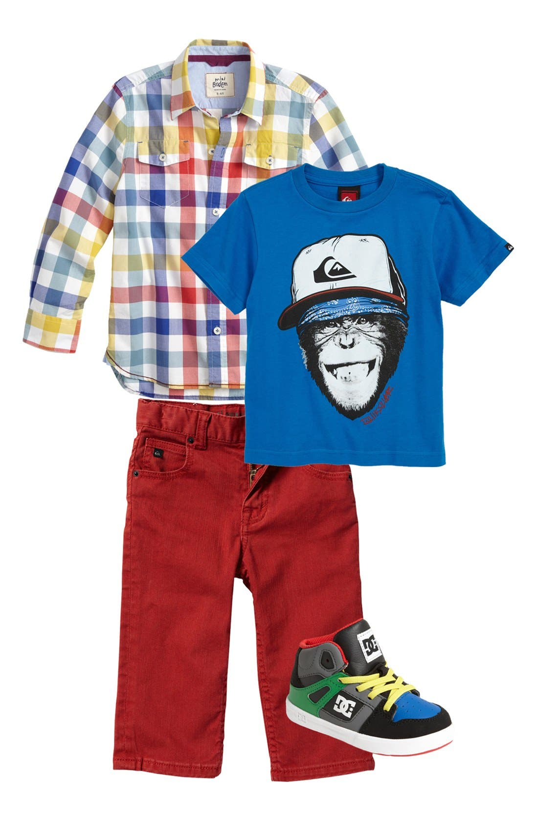 Alternate Image 1 Selected - Mini Boden Woven Shirt & Quiksilver T-Shirt & Jeans (Toddler)