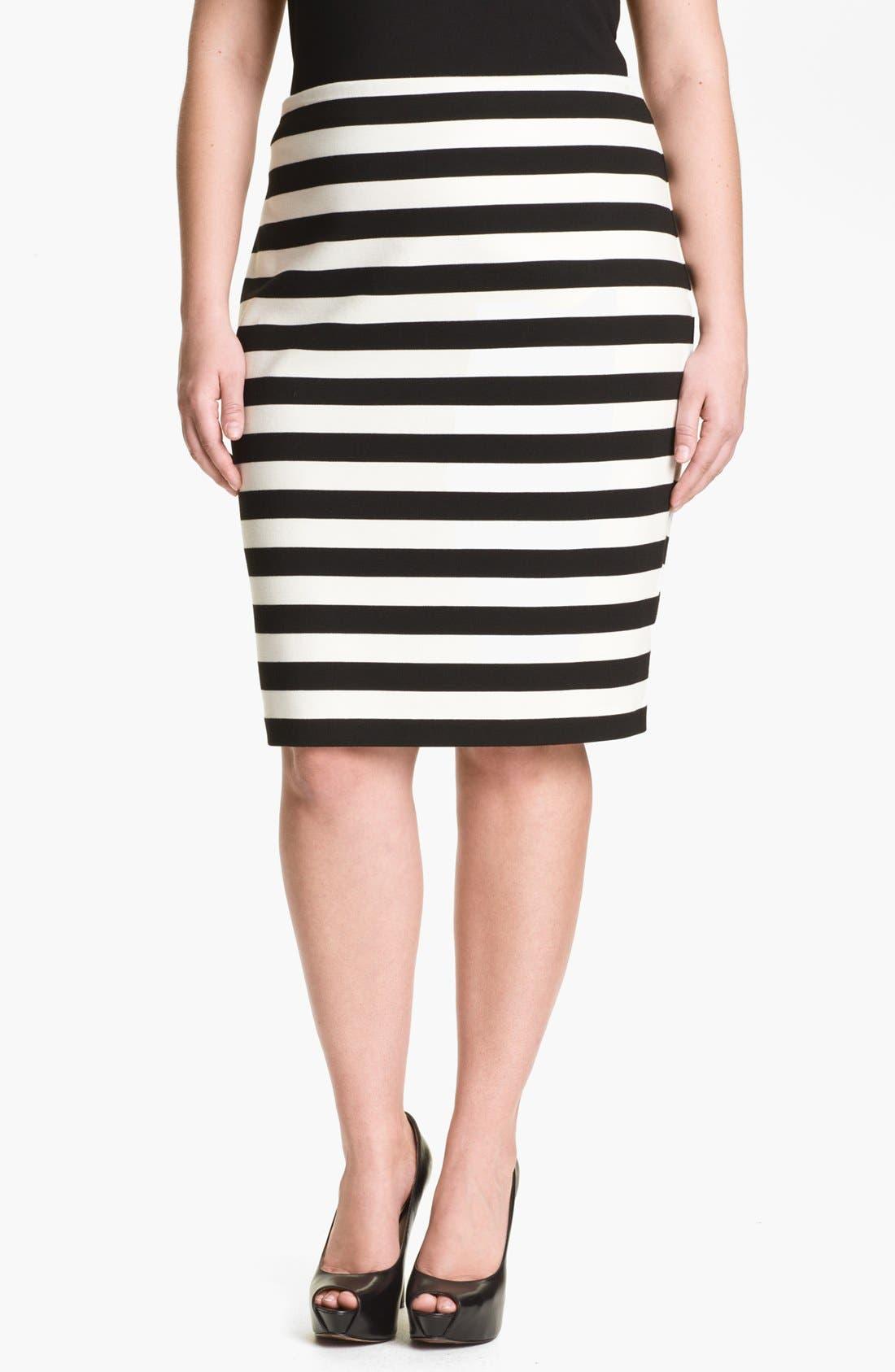 Alternate Image 1 Selected - Vince Camuto Stripe Pencil Skirt (Plus Size)