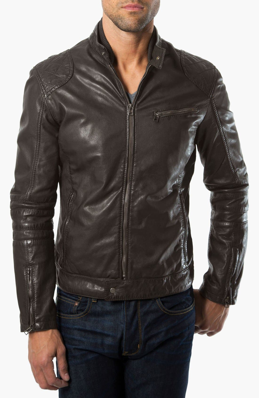 Main Image - 7 Diamonds 'Siata' Leather Moto Jacket