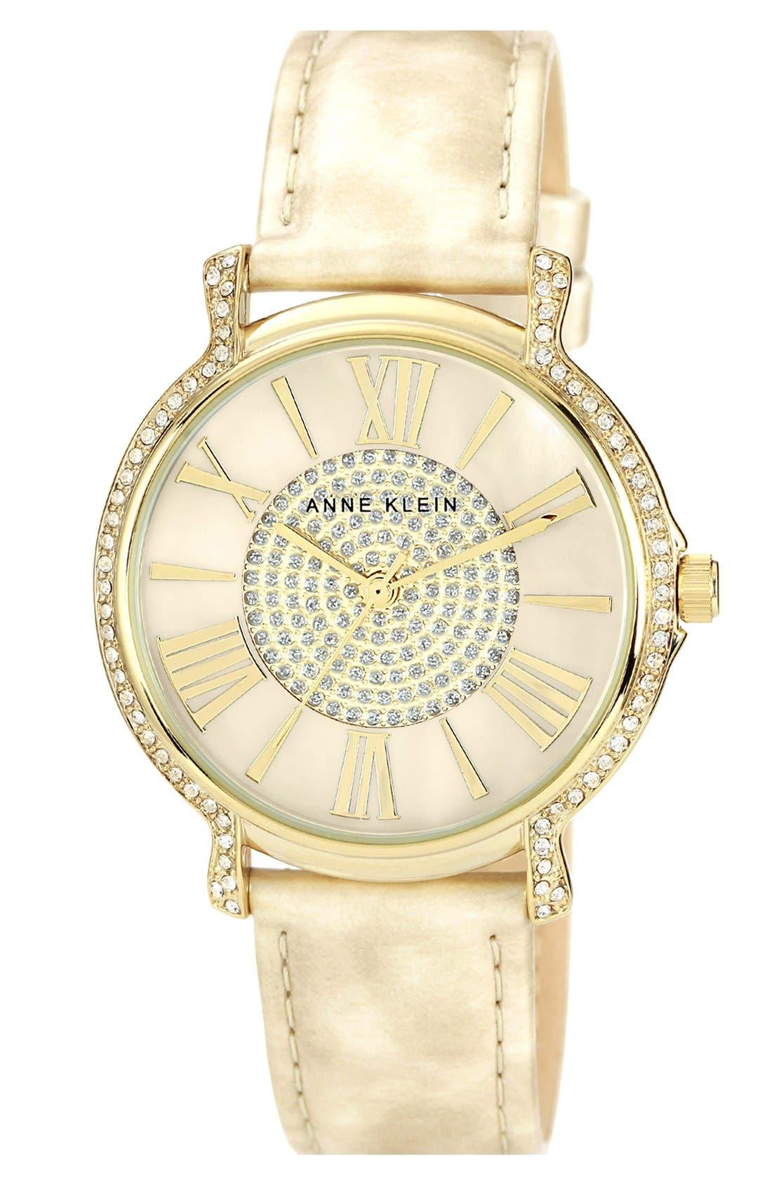 Main Image - Anne Klein Round Crystal Bezel Watch, 38mm