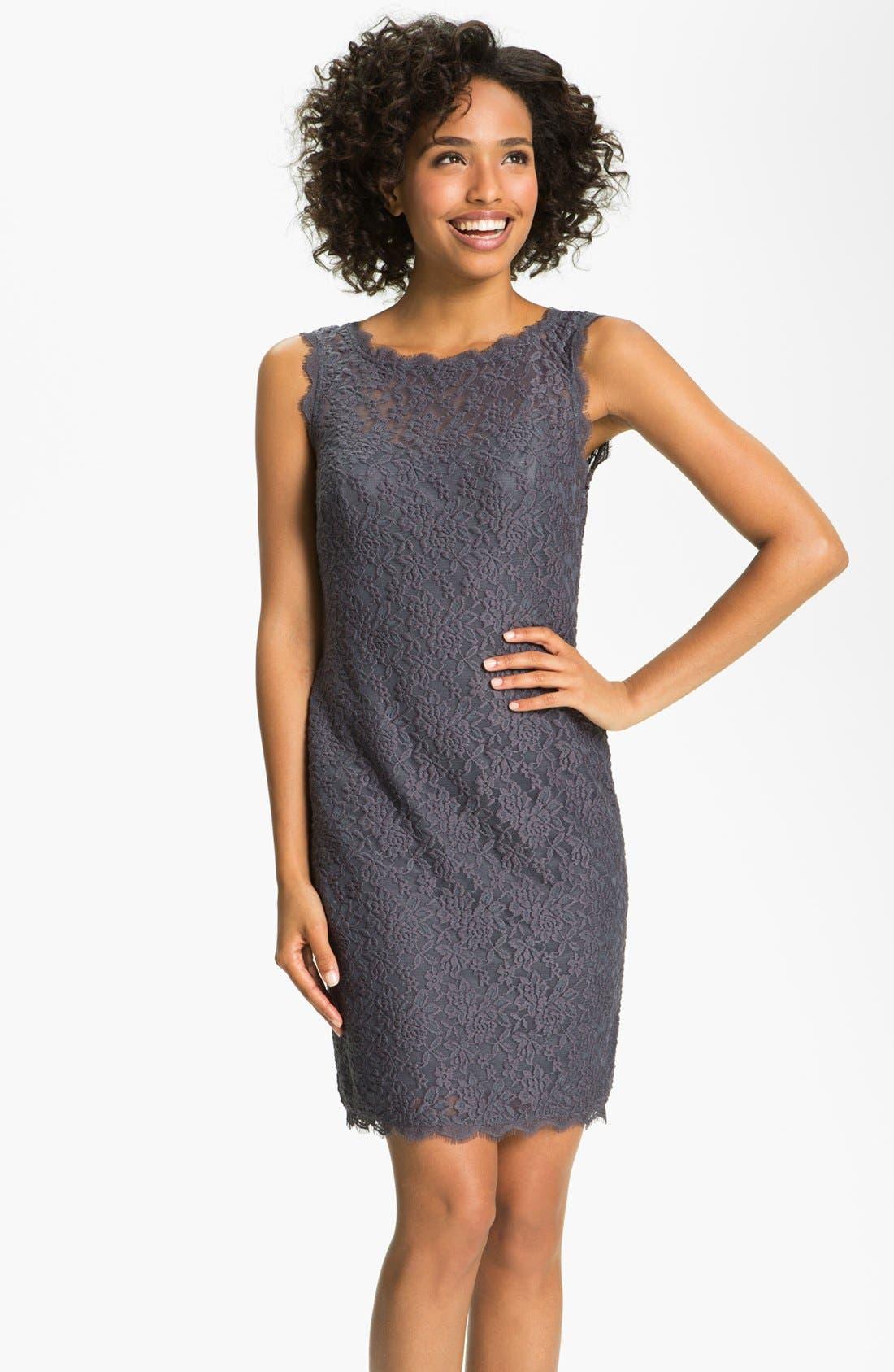 Alternate Image 1 Selected - Adrianna Papell V-Back Lace Sheath Dress (Petite)