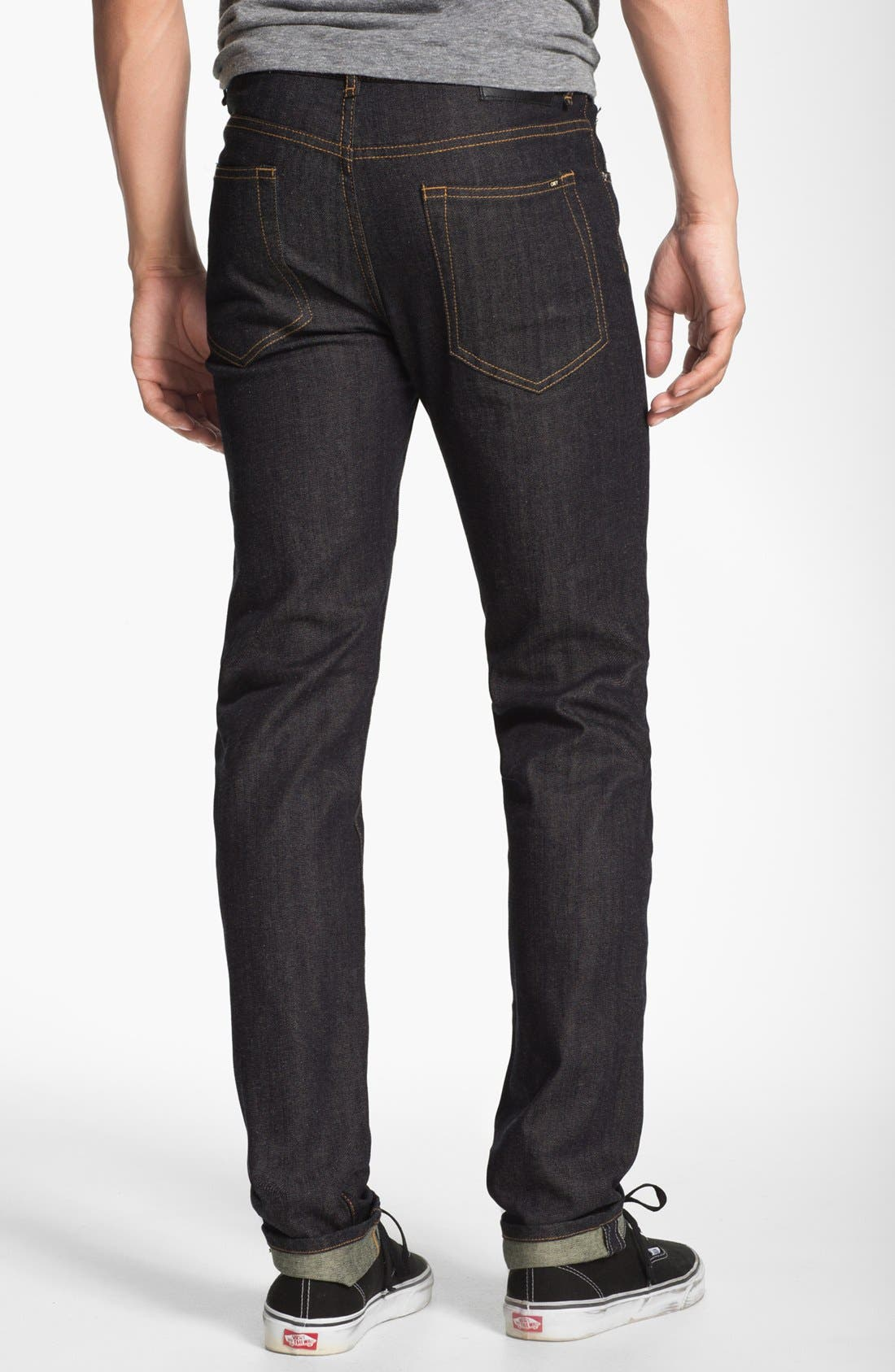 Alternate Image 1 Selected - Obey 'Juvee' Slim Fit Selvedge Jeans (Raw Indigo)