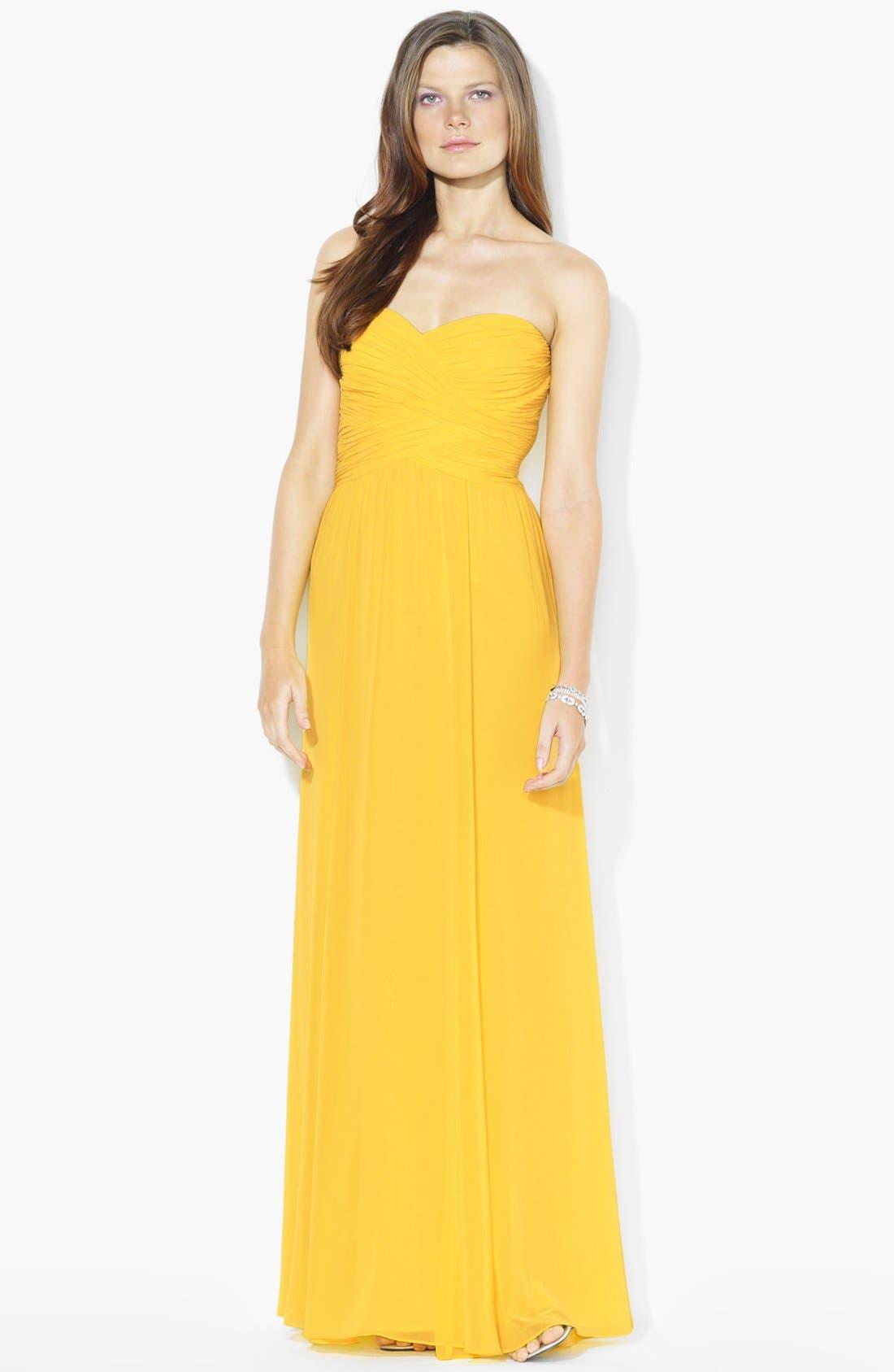 Main Image - Lauren Ralph Lauren Wrapped Bodice Sweetheart Gown (Petite)