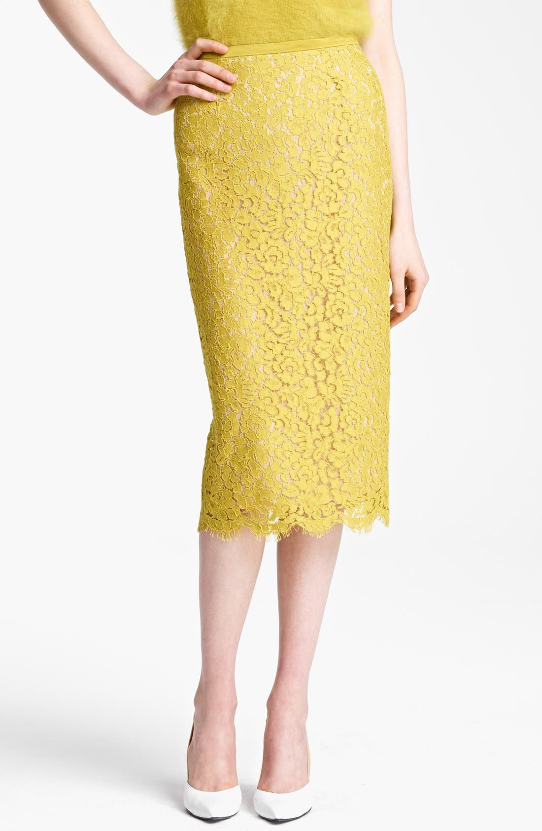 Alternate Image 1 Selected - Michael Kors Floral Lace Pencil Skirt