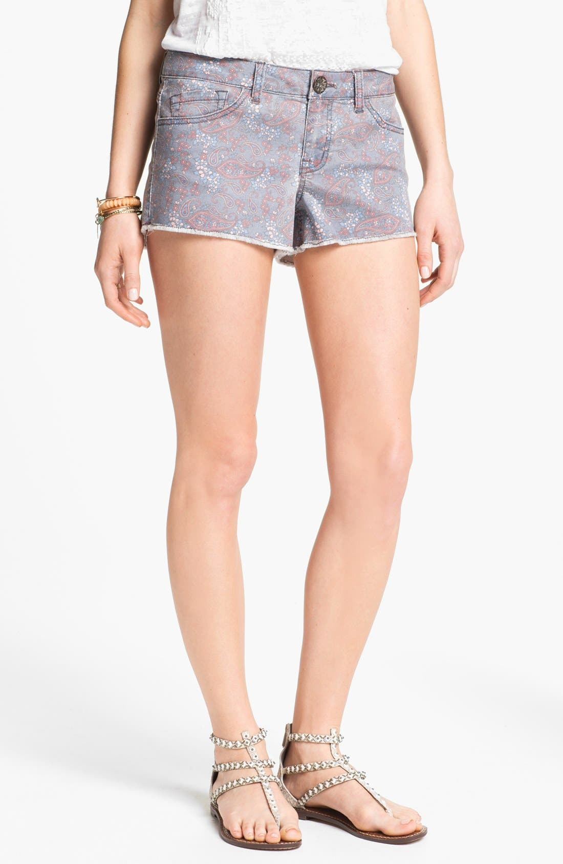 Alternate Image 1 Selected - Jolt Paisley Print Denim Cutoff Shorts (Juniors)