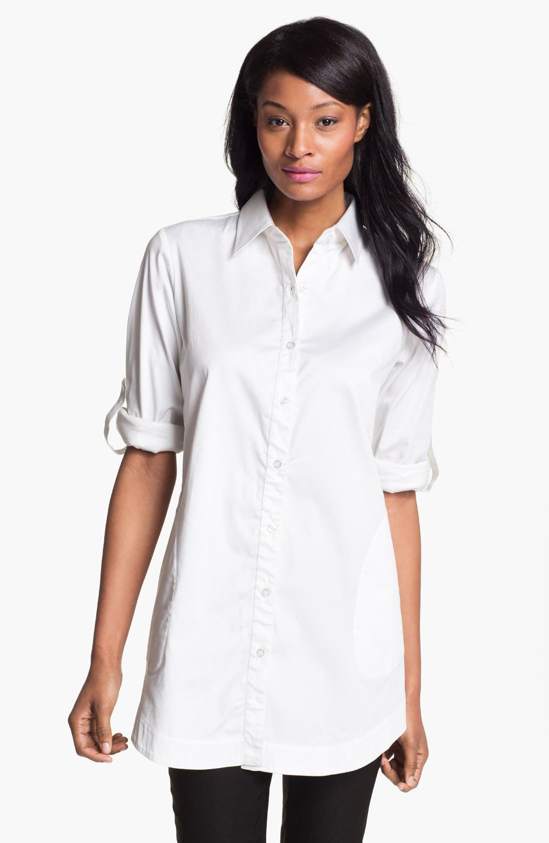 Alternate Image 1 Selected - Pure Amici Roll Sleeve Tunic Shirt