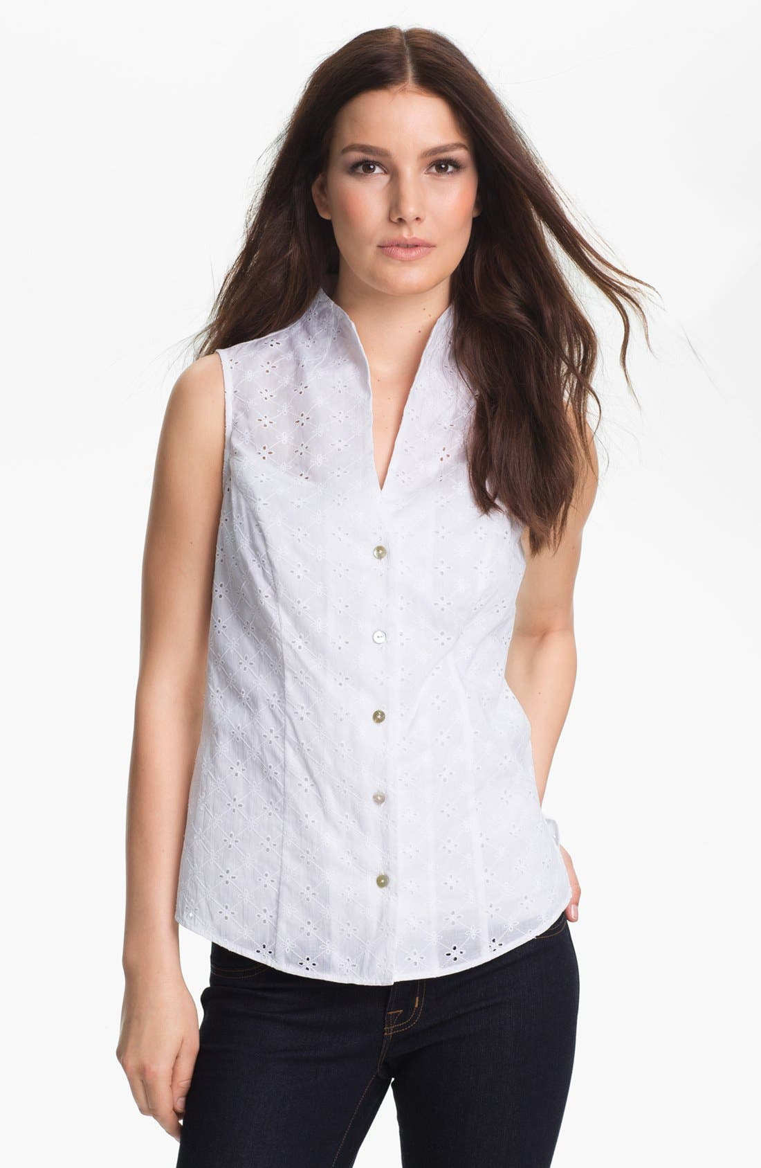 Main Image - Foxcroft Sleeveless Eyelet Shirt