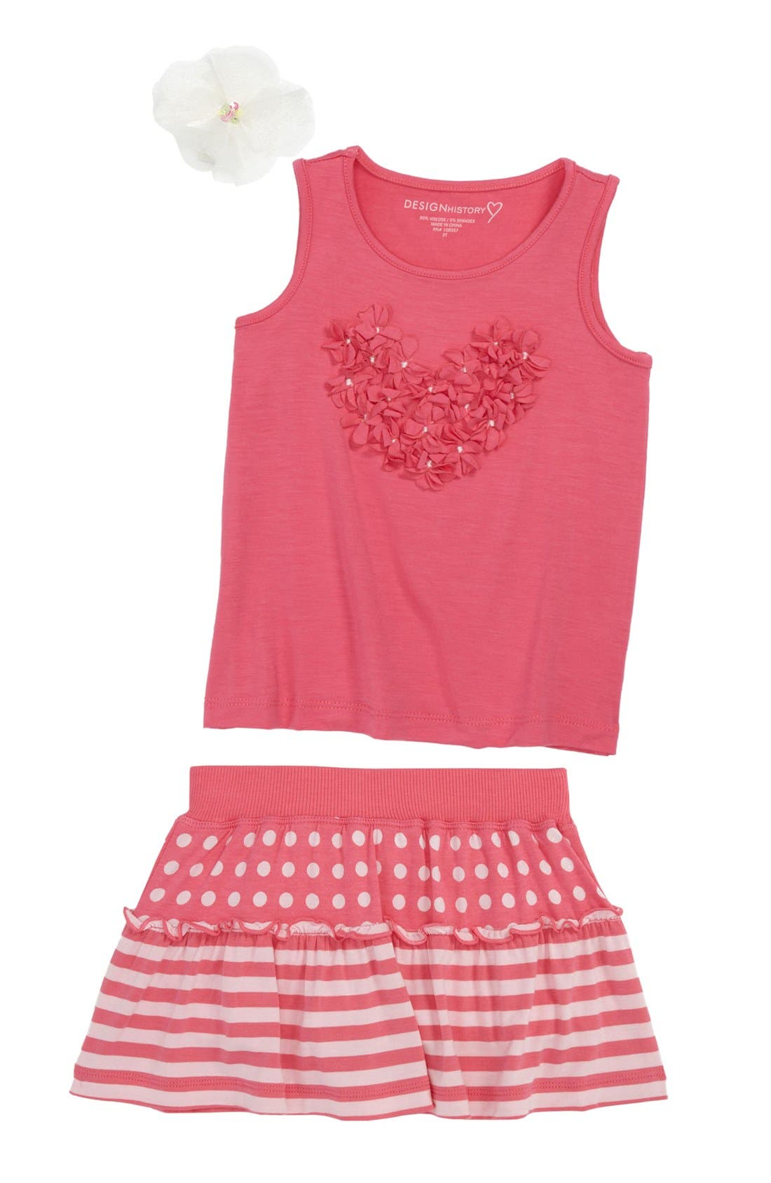 Main Image - Design History Tank Top & Skort & PLH Bows & Laces Hair Clip (Toddler)