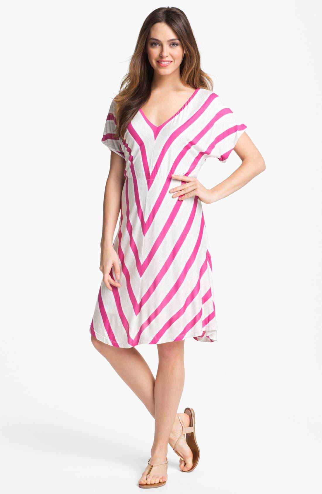 Alternate Image 1  - Felicity & Coco V-Neck Chevron Stripe Jersey Dress (Nordstrom Exclusive)